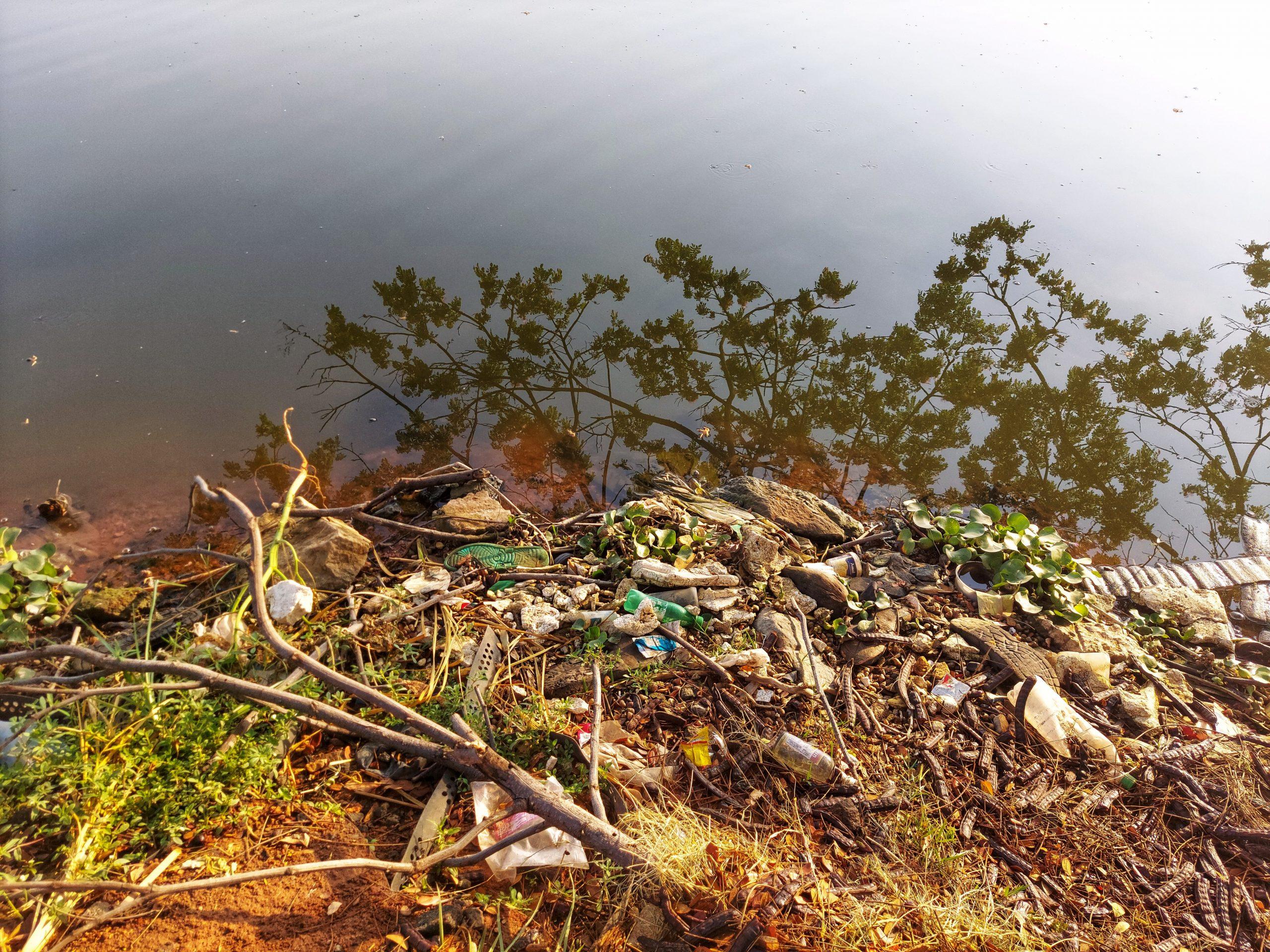 Garbage near a river