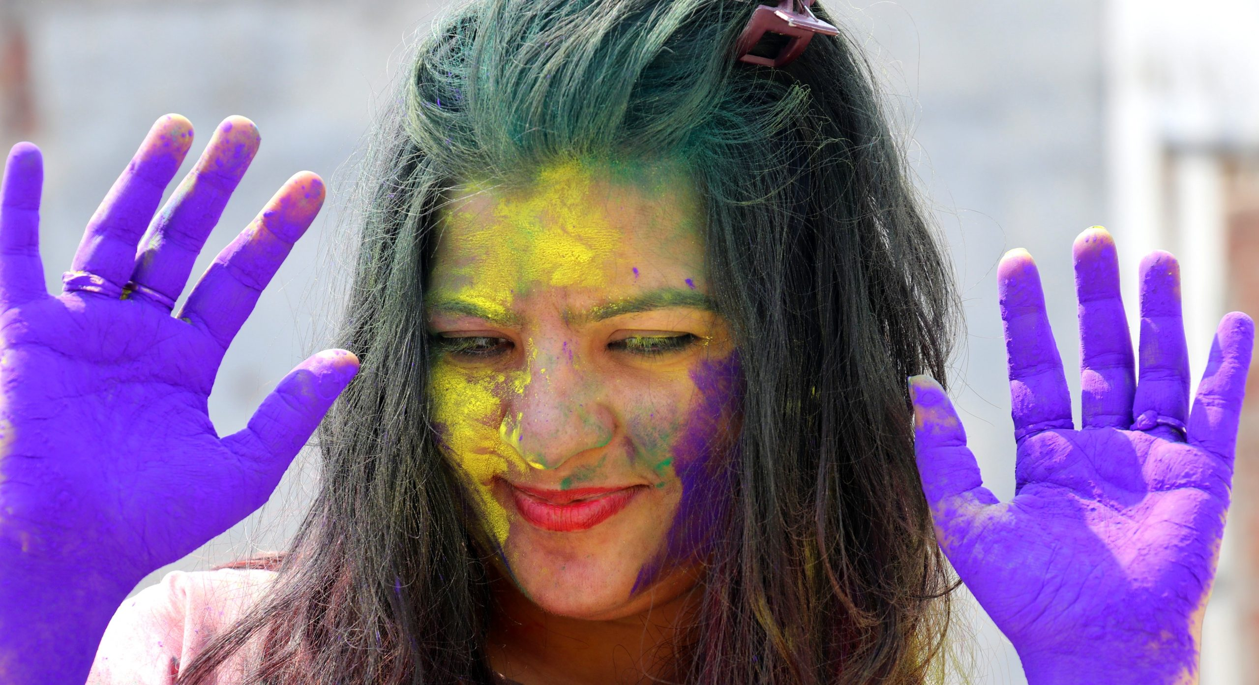 Girl playing with colors