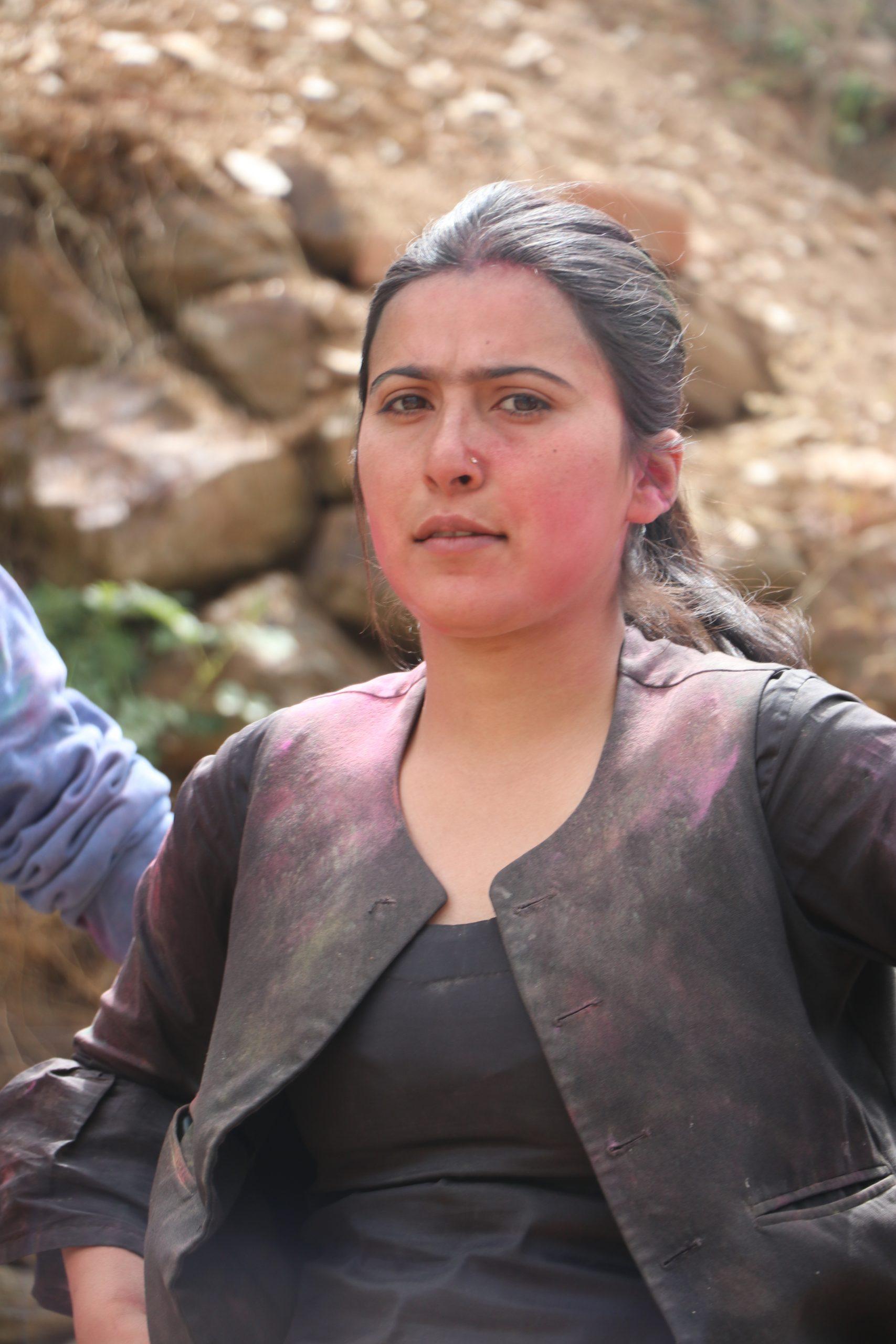 Girl posing during Holi