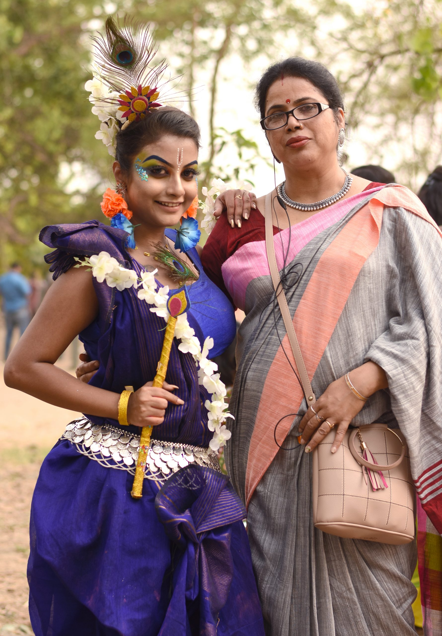 Girl posing with her mother