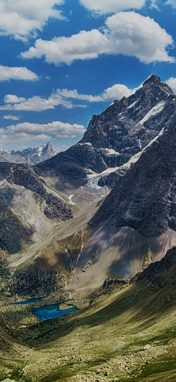 High altitude snowy mountains