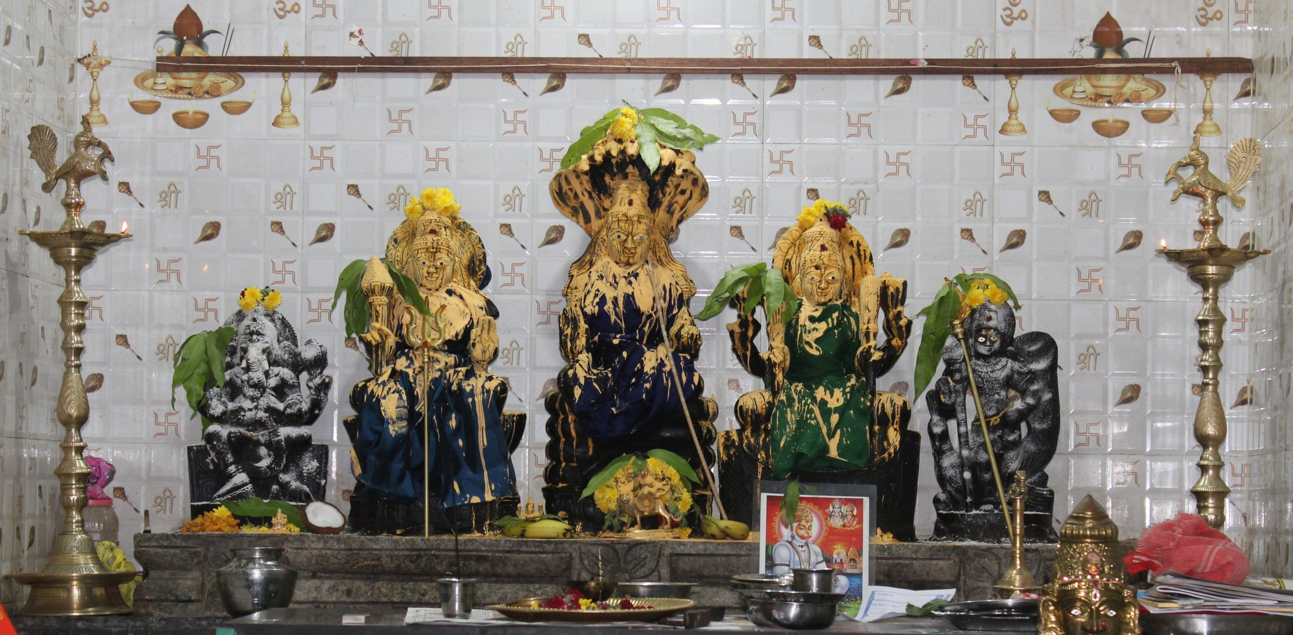 Hindu god idols in a temple