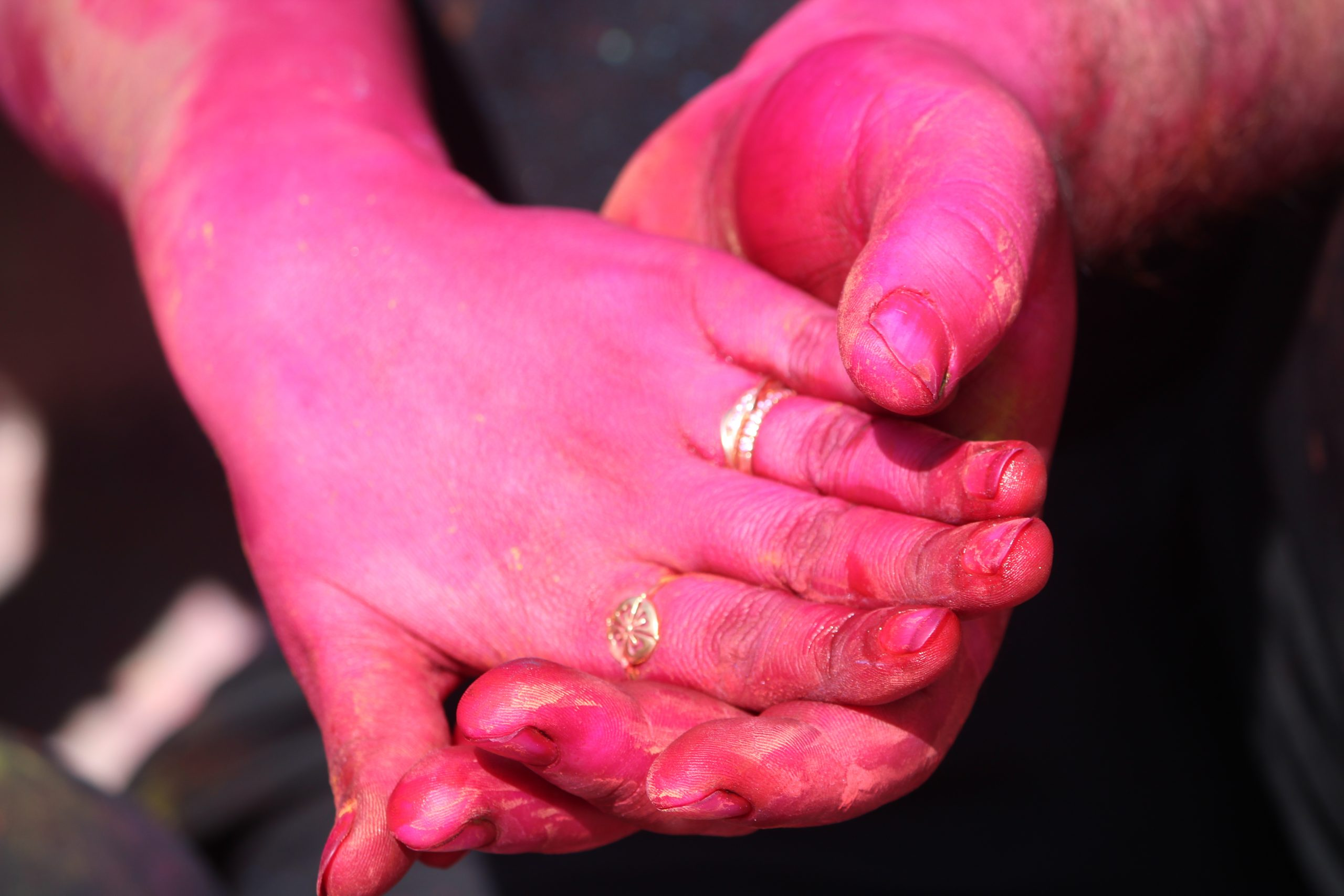 Hands painted with Holi colors