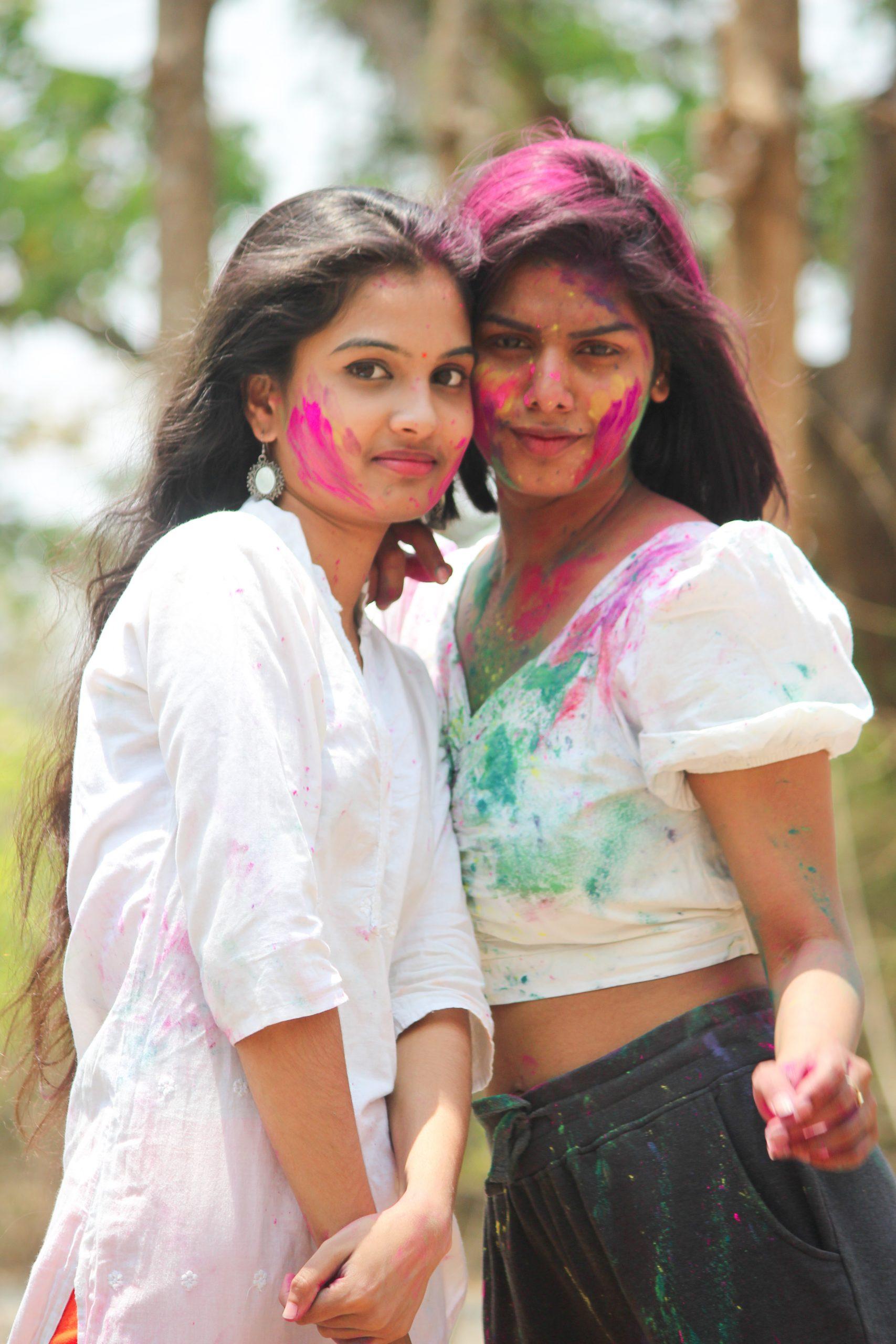 Girls celebrating Holi festival