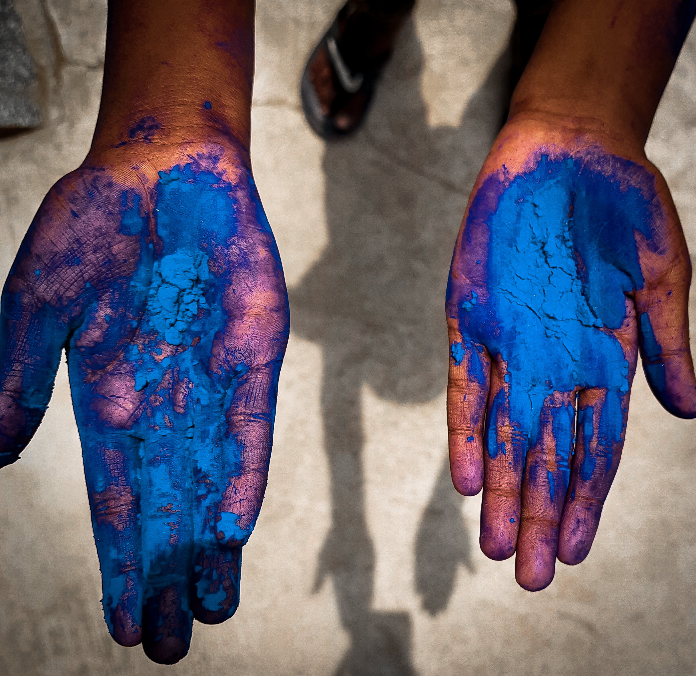 Holi colors in hand