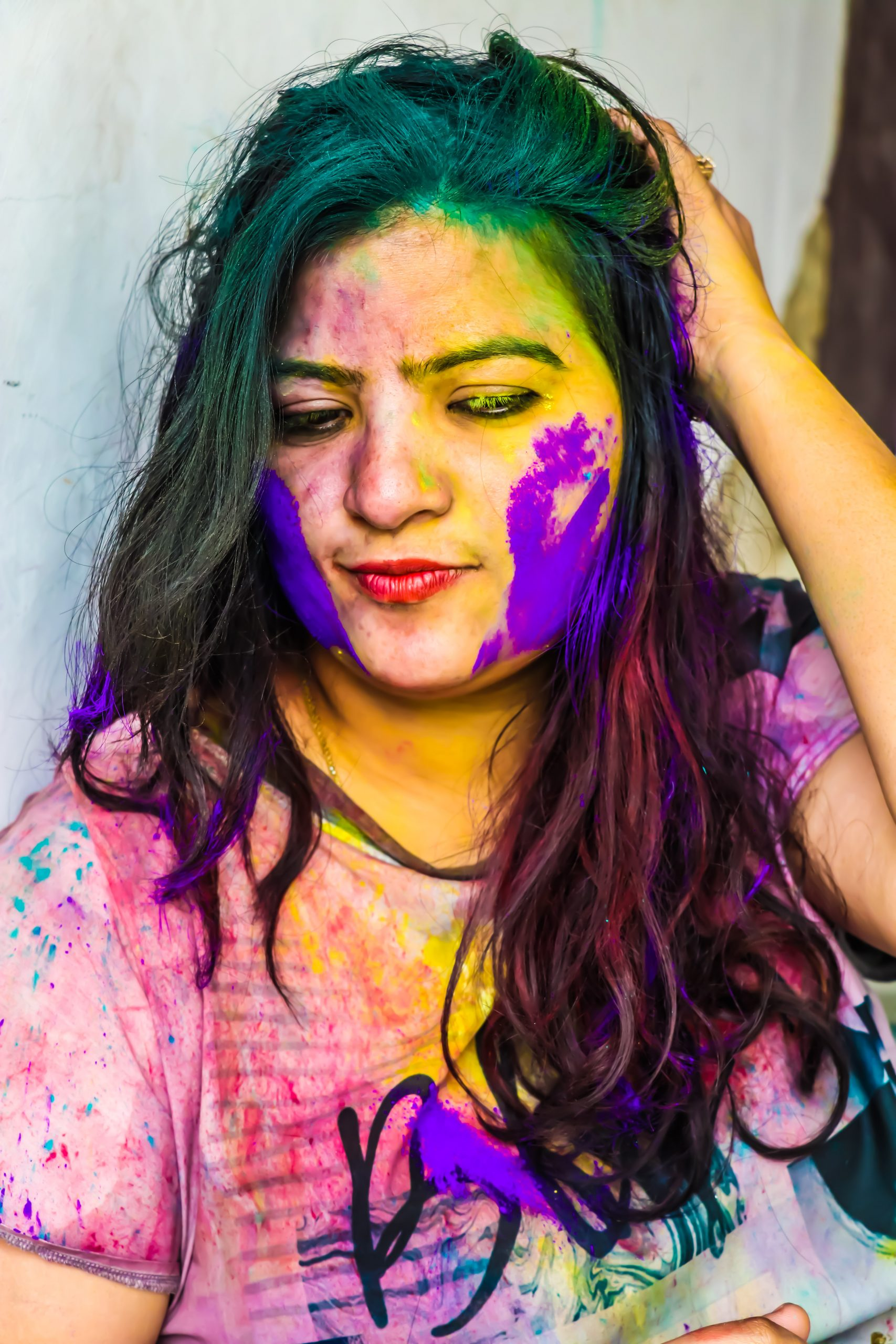 Holi colors on Girl's face
