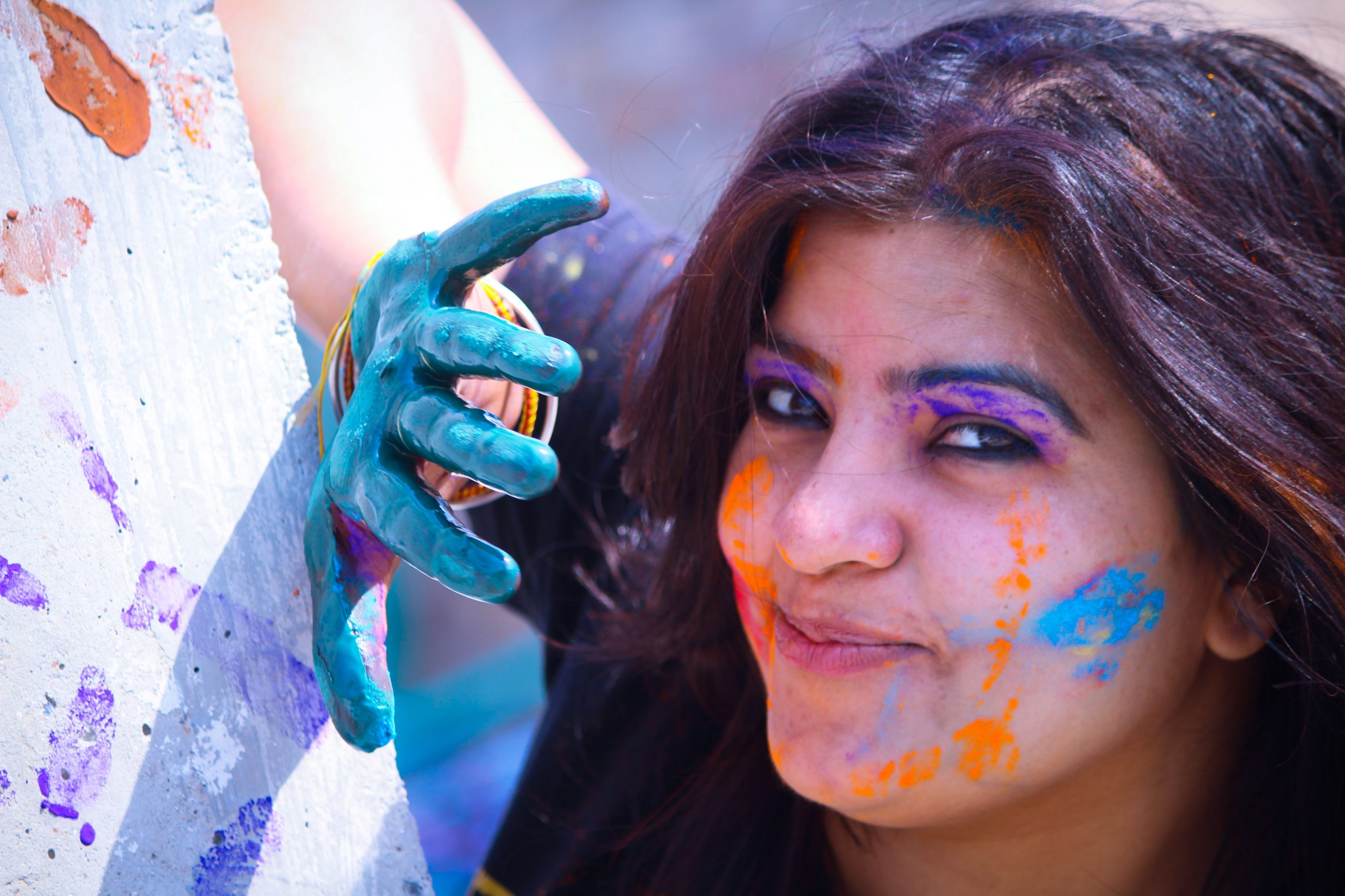 A happy girl during Holi festival