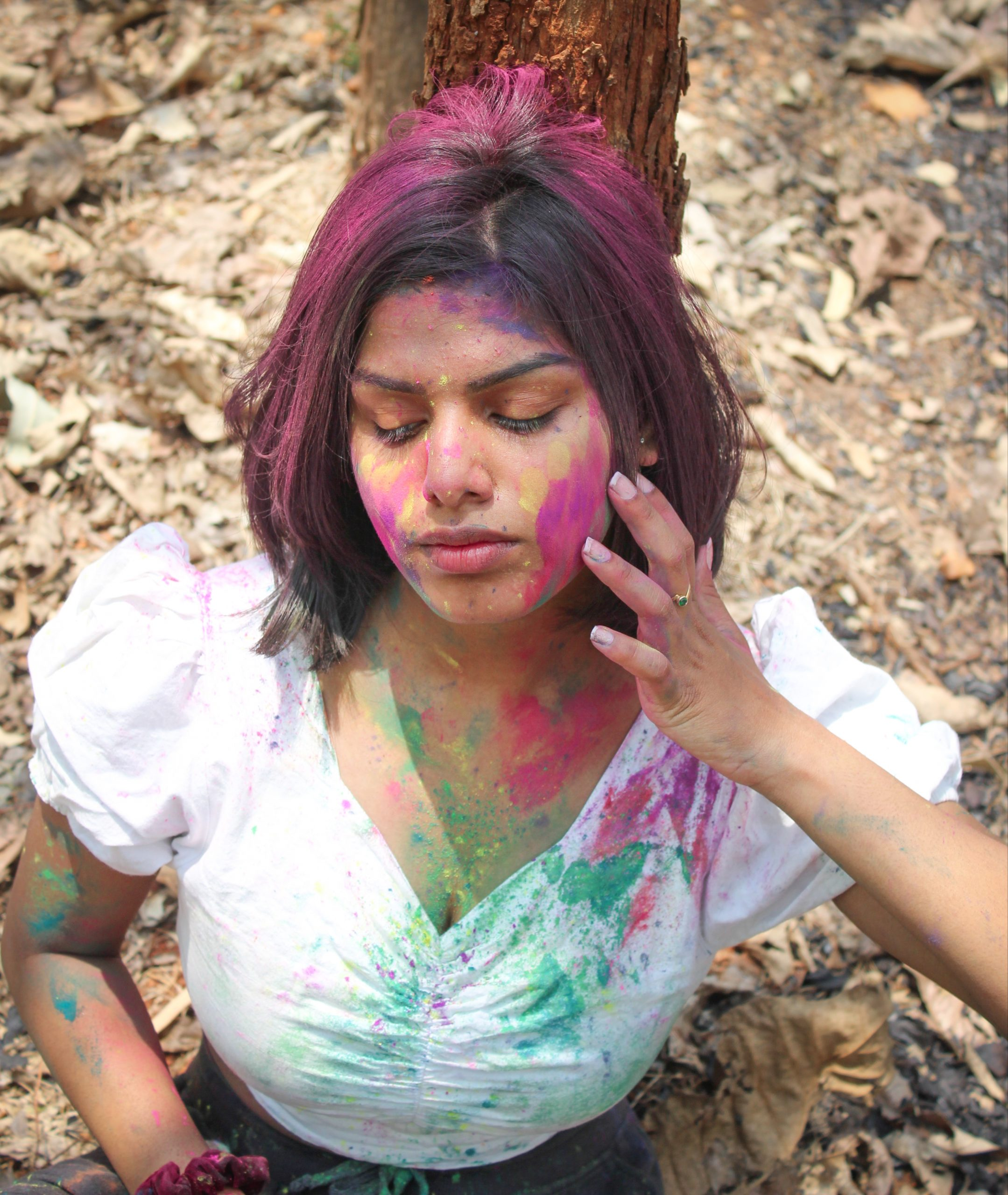 Holi face of a girl