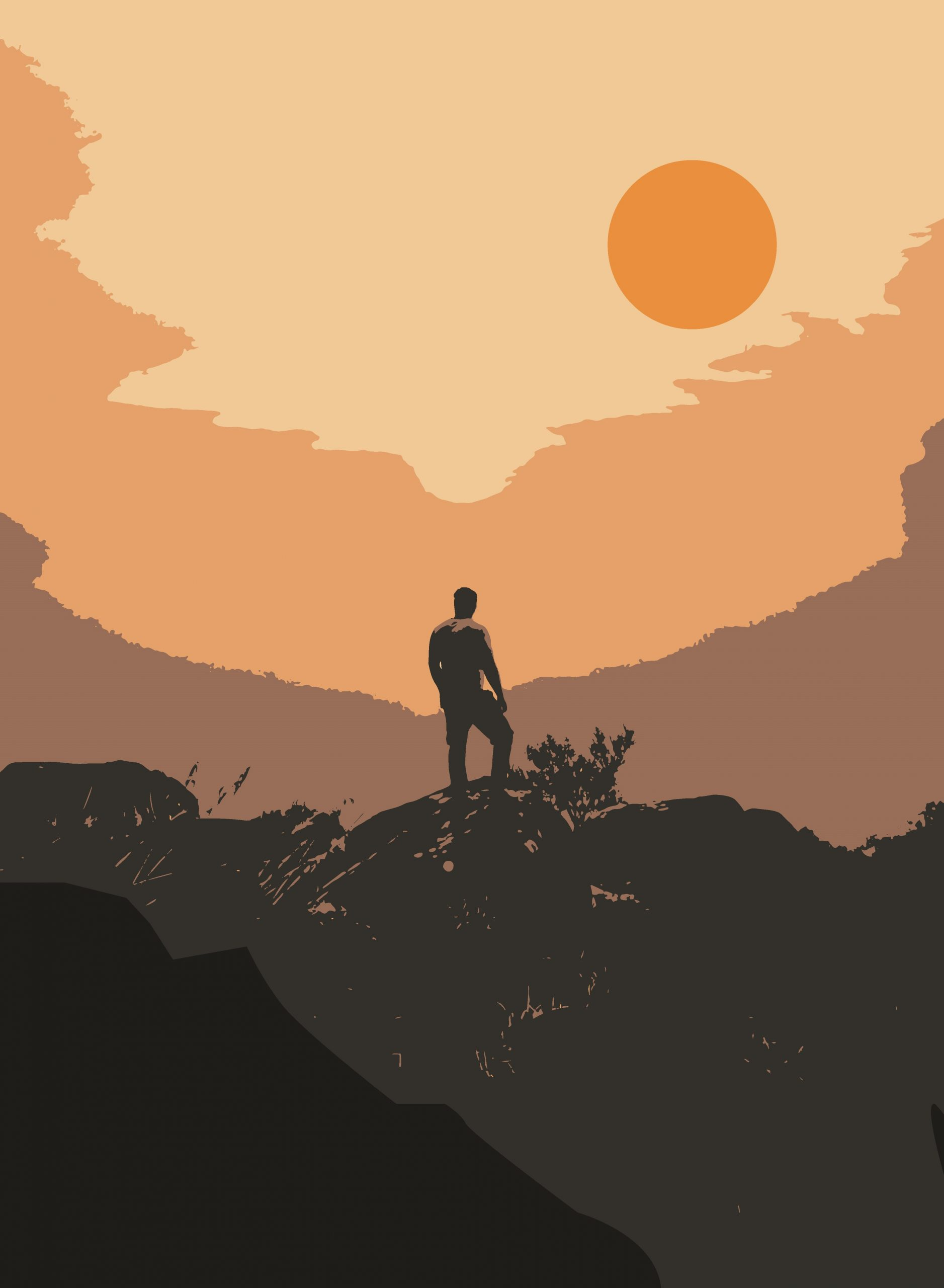 Illustration of a hiker on a mountain top