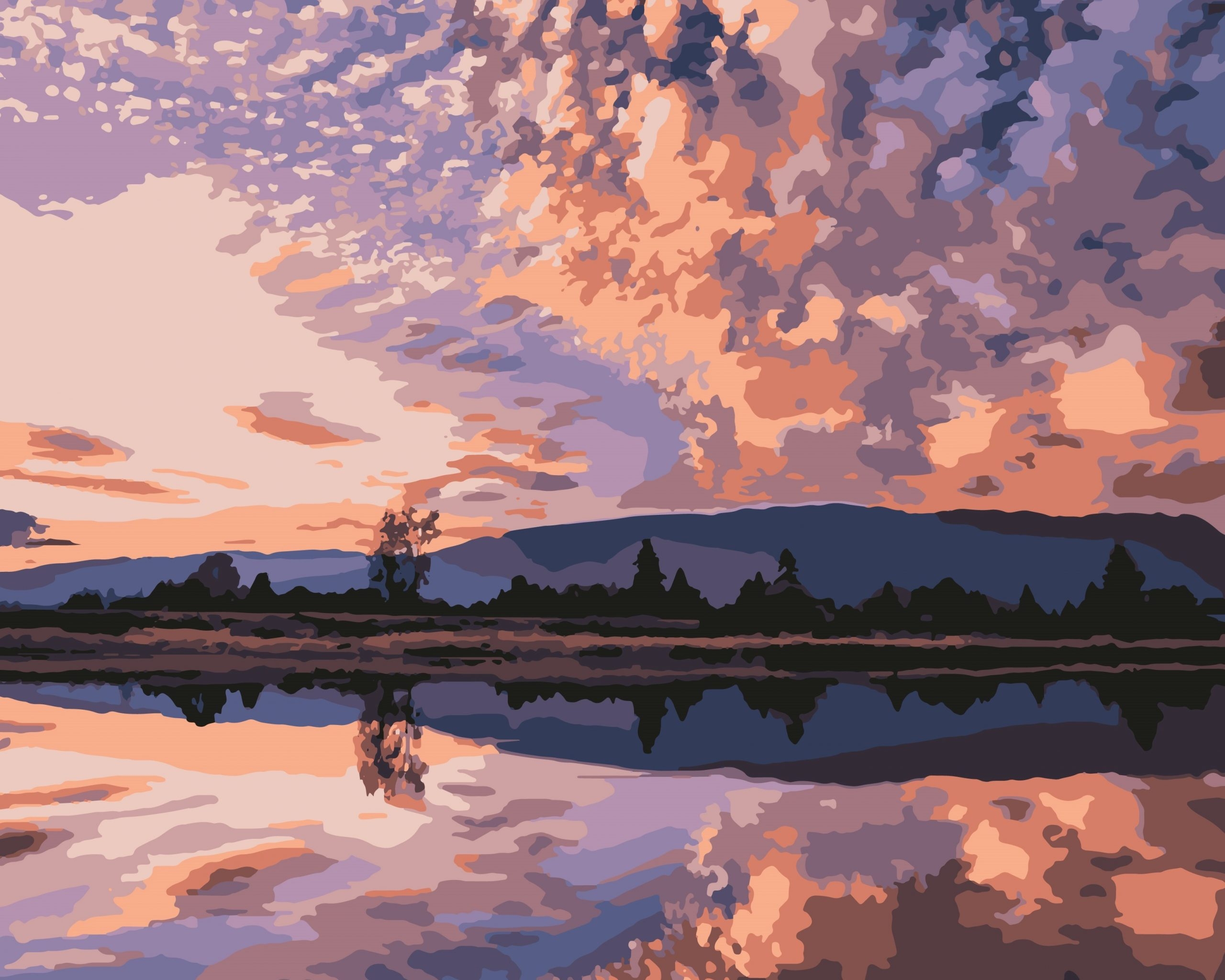 Illustration of a lake and clouds