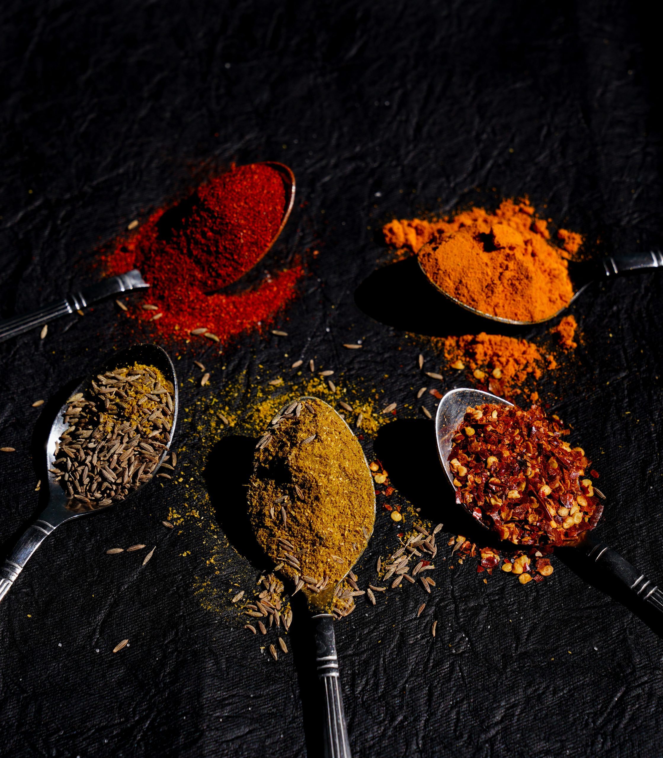 Indian Spices in spoons