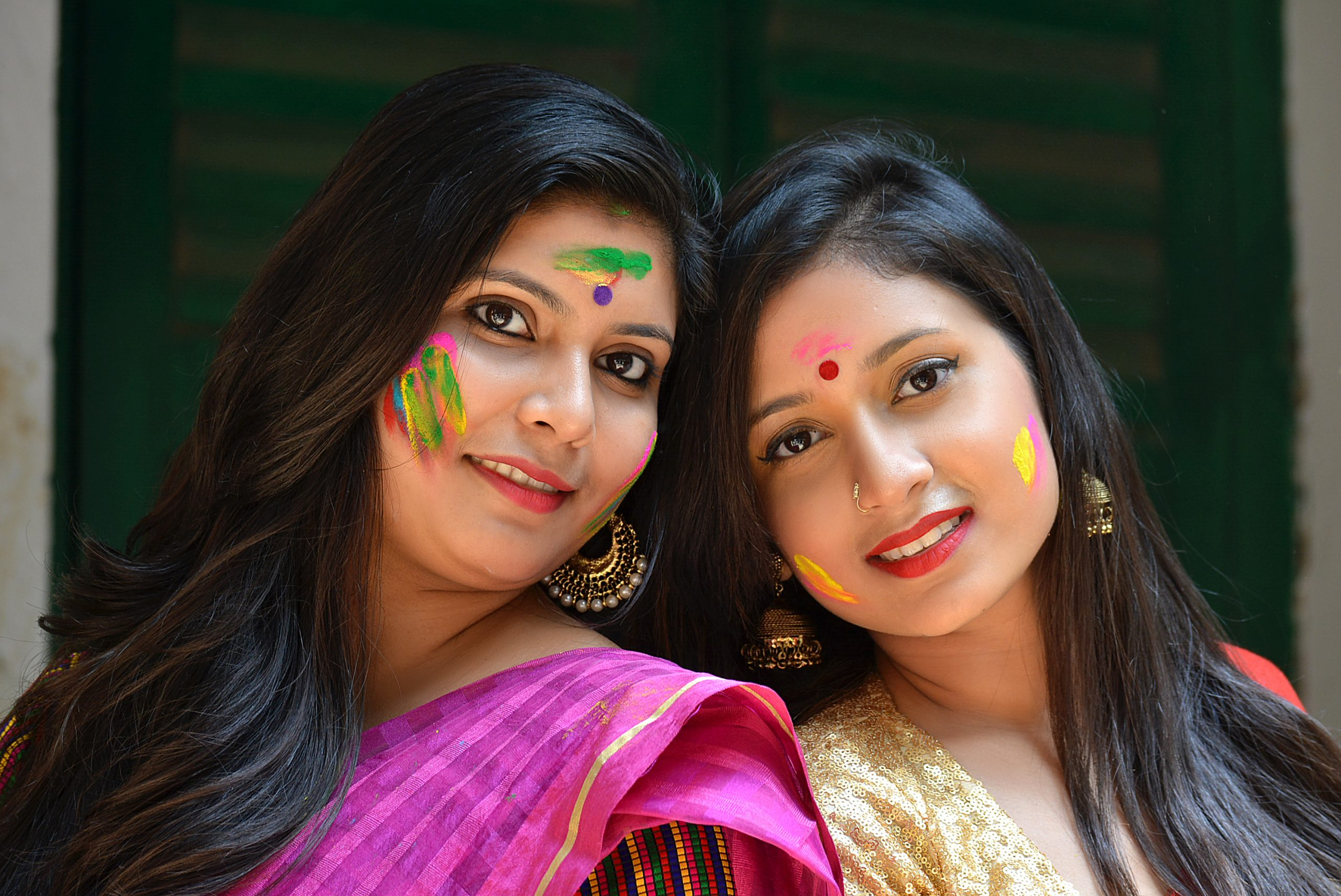 Indian women celebrating Holi festival