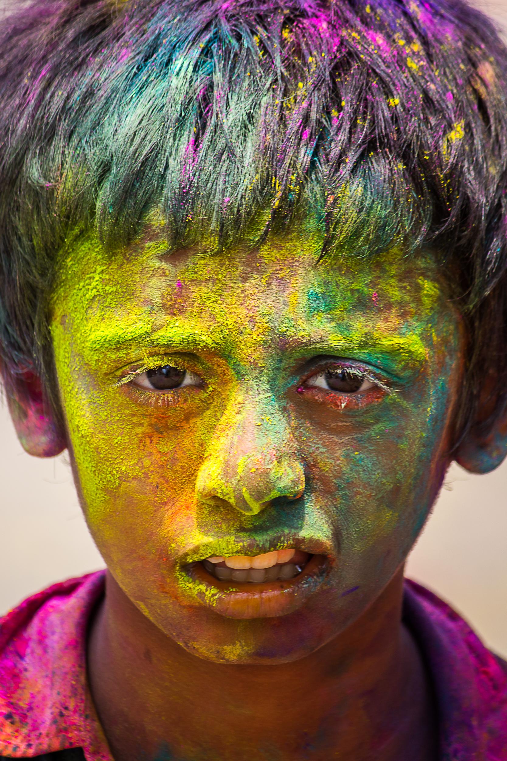 Kid Celebrating Holi Festival