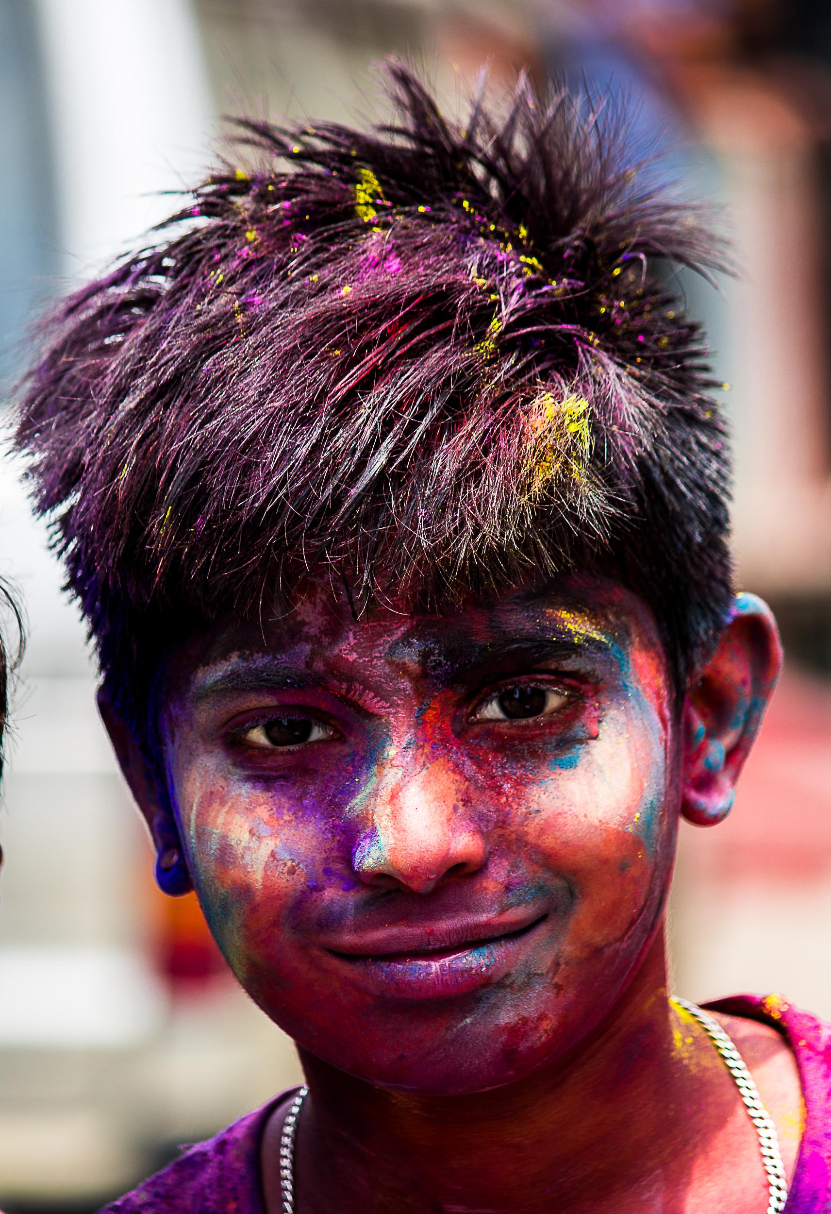 Kid Portrait of Holi Celebration