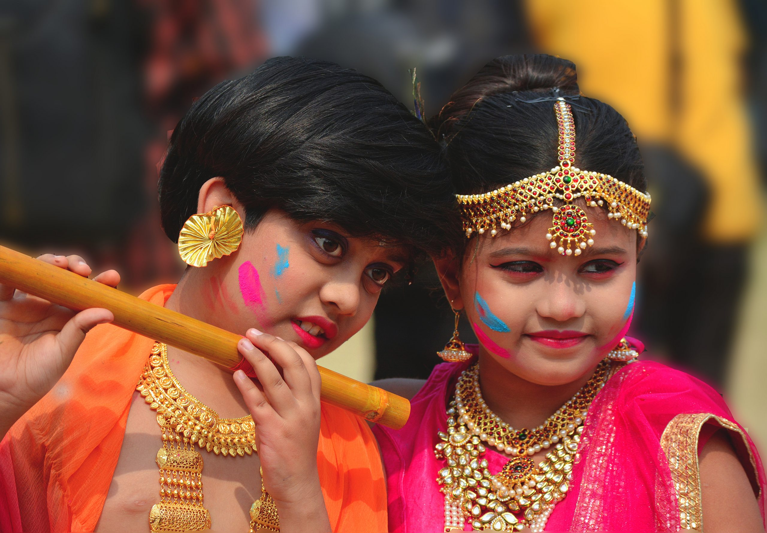 Kids in Radha-Krishna costume