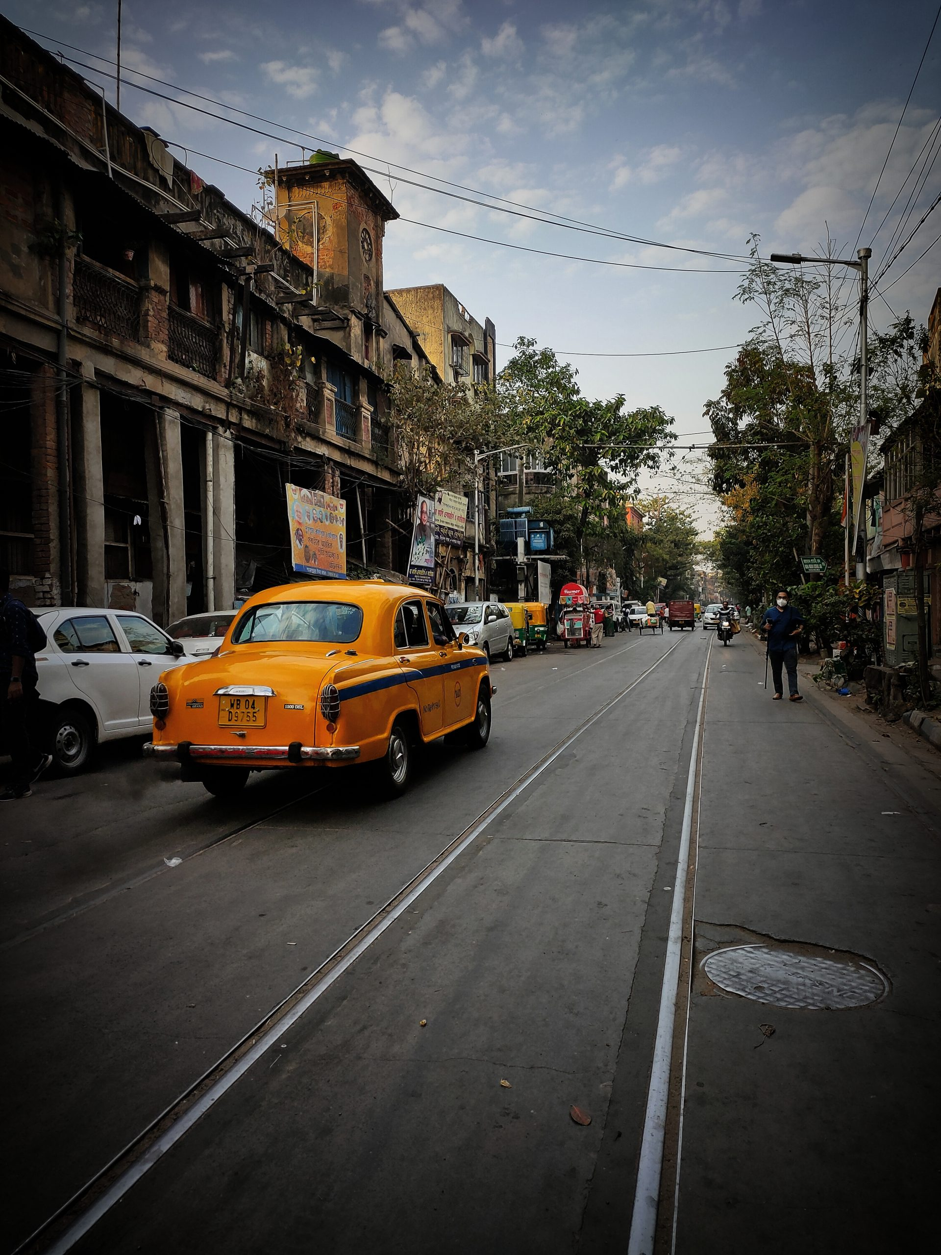 Yellow taxi on a street