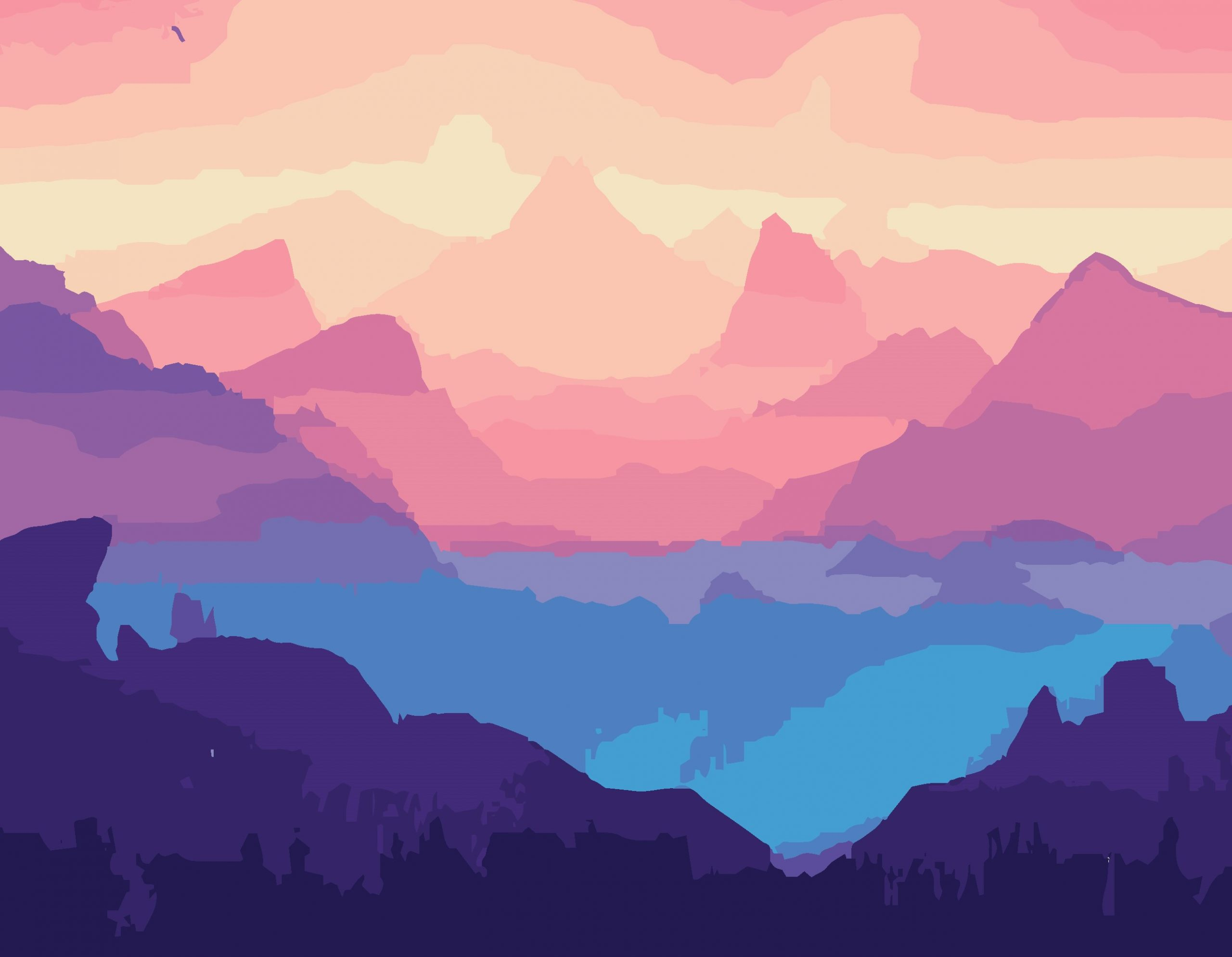 Hills and mountain peaks illustration