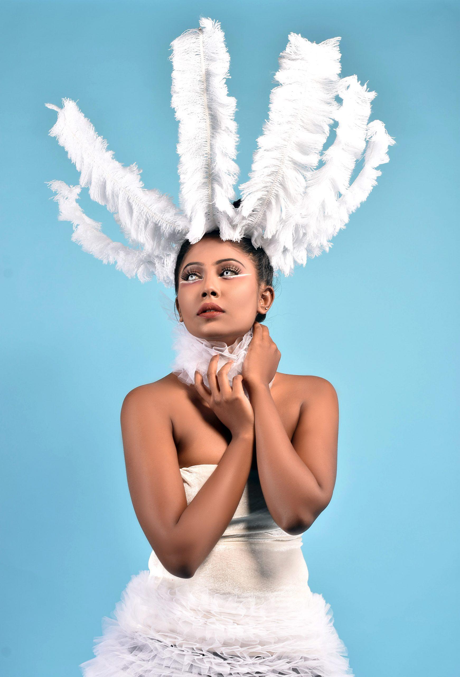 Portrait of a model in white dress