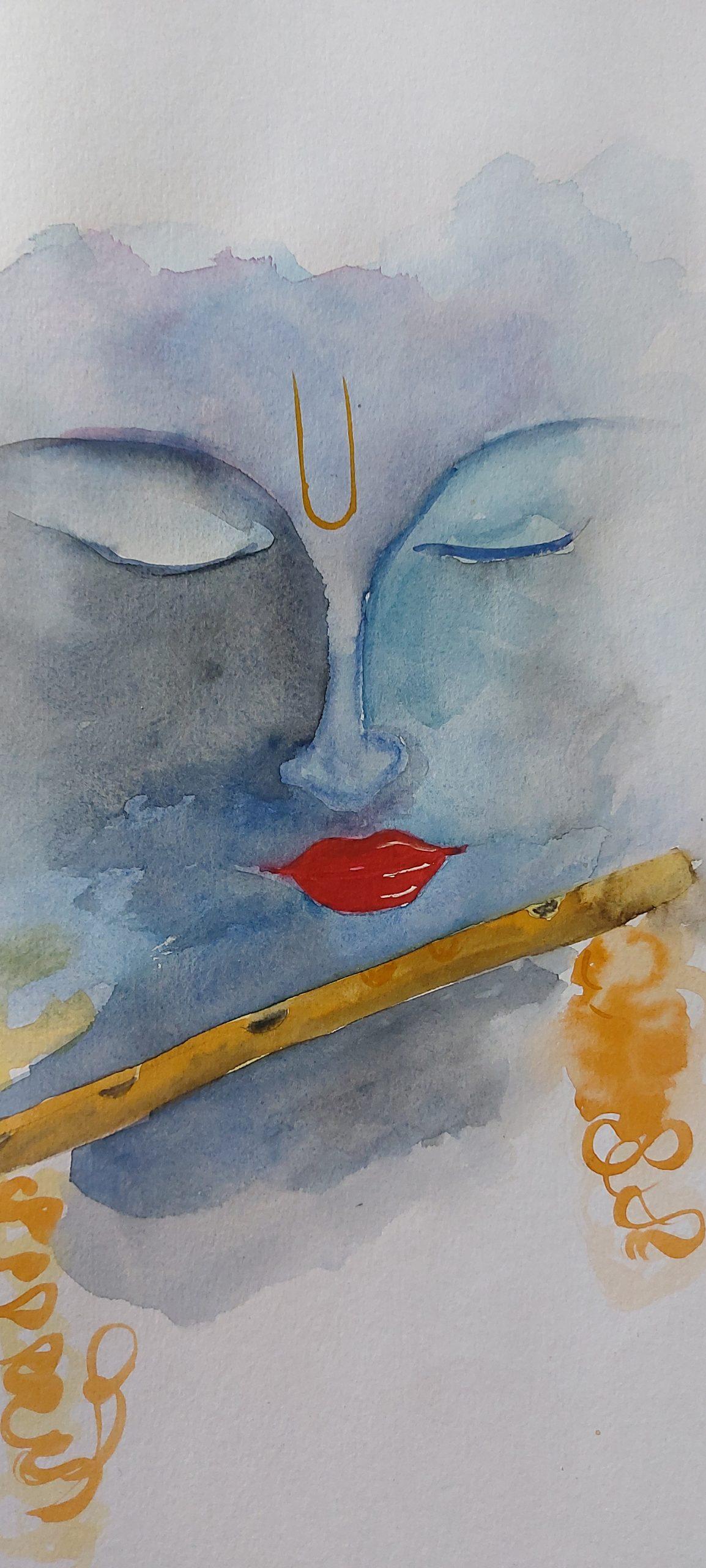 Lord Krishna and flute illustration