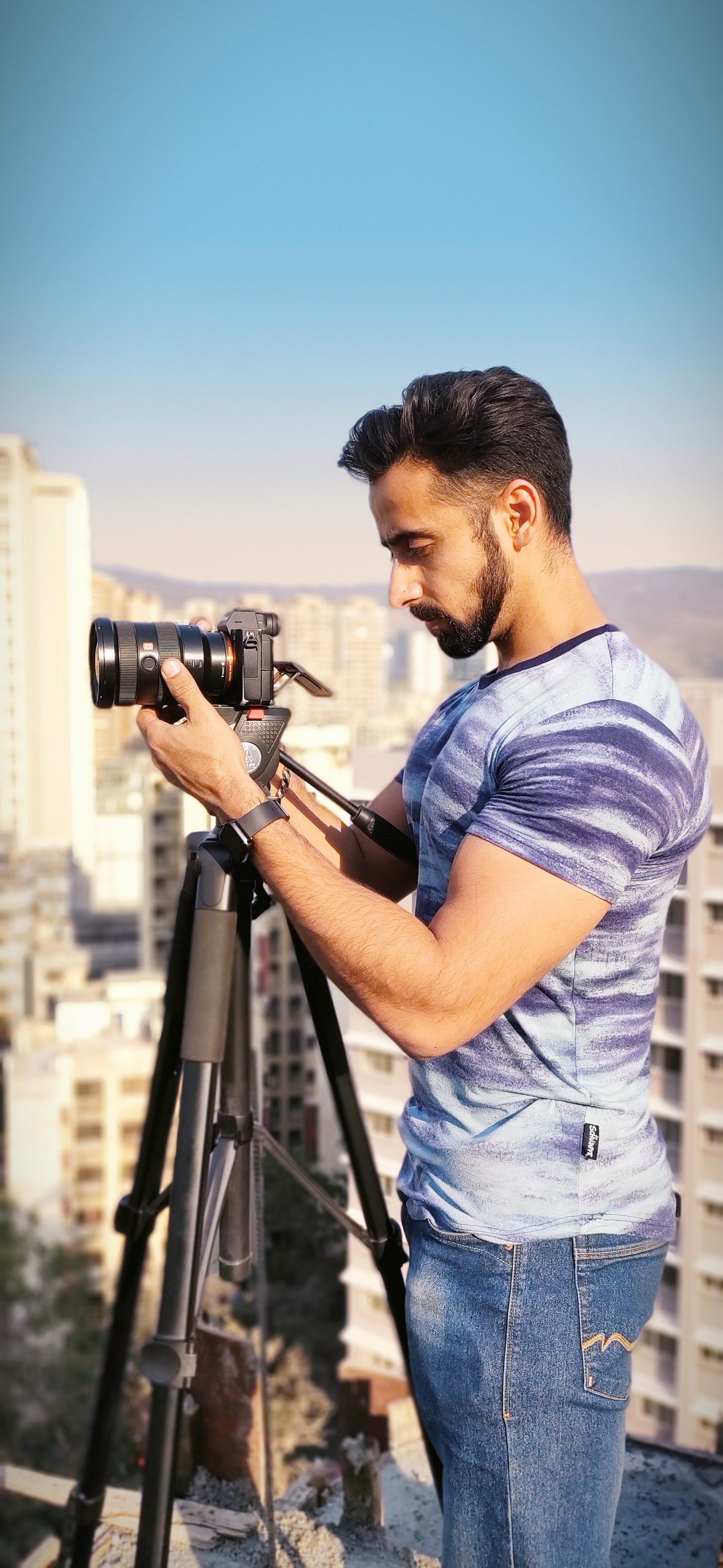 Man clicking picture with camera