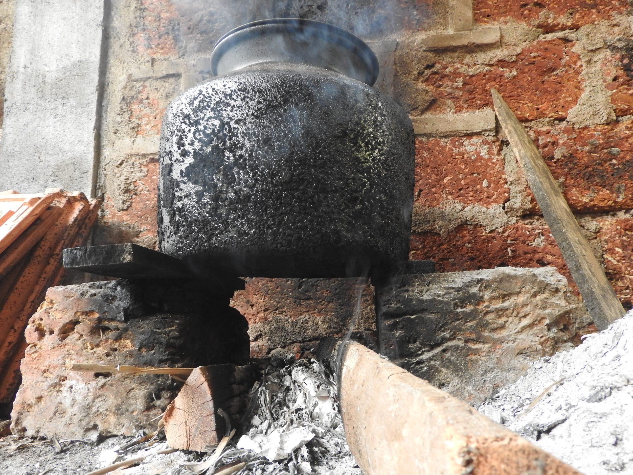 Metal vessel on the fire