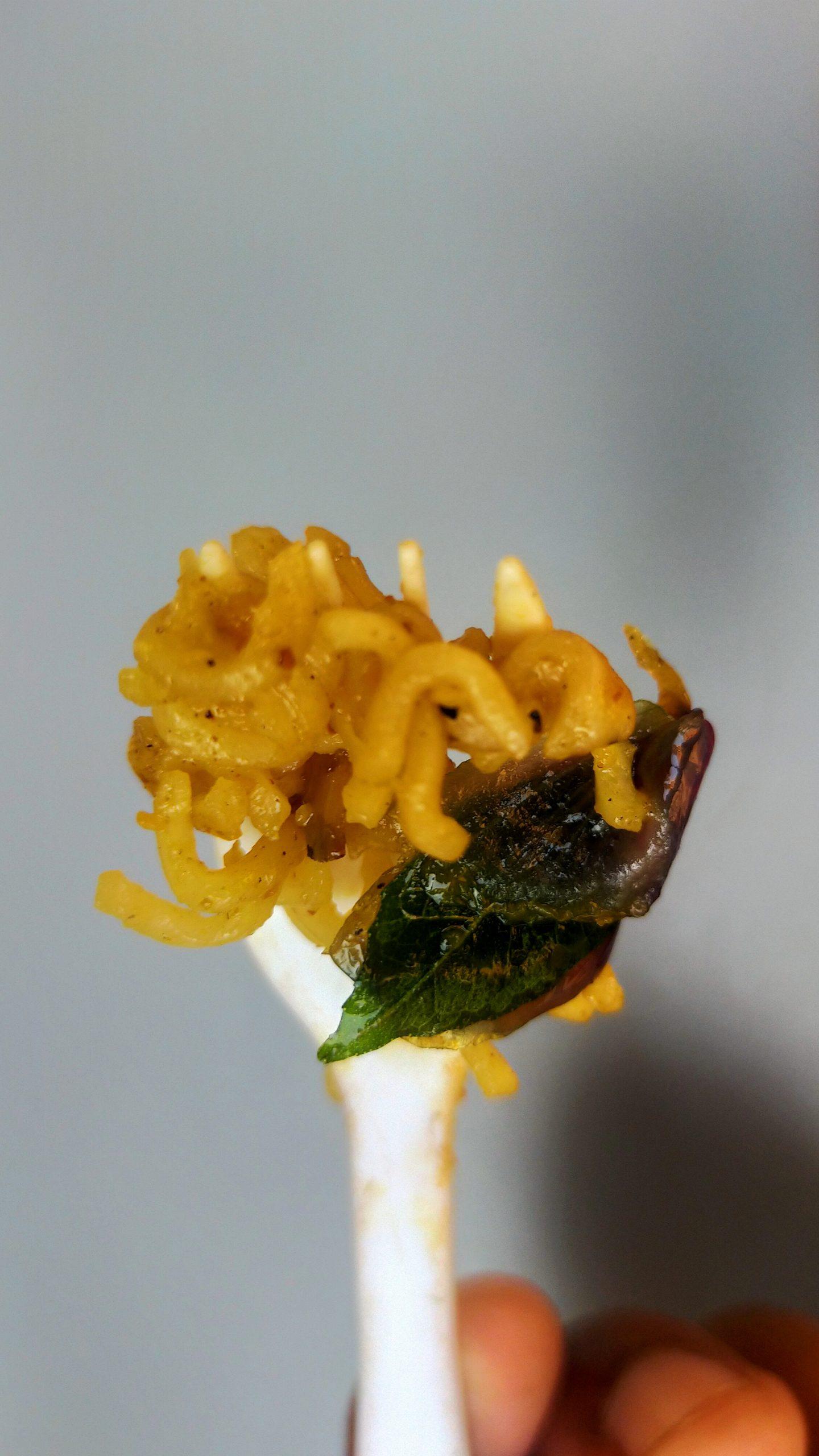 Hands holding noodles on a fork