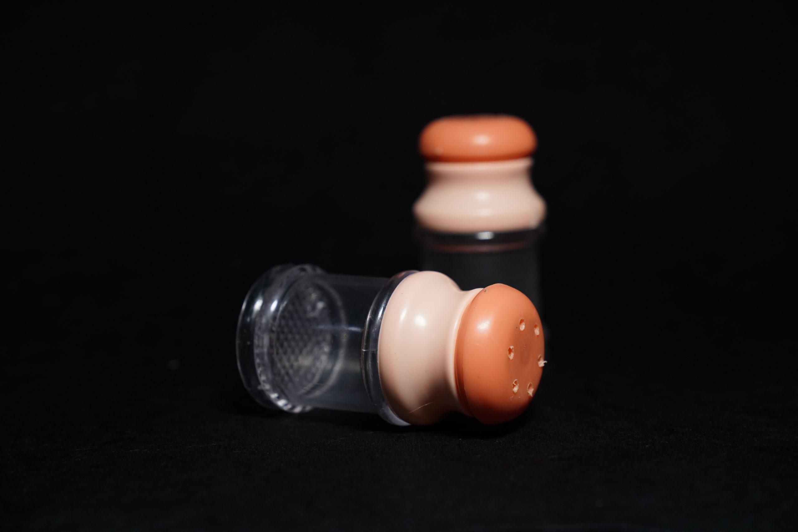 Peach color salt bottle