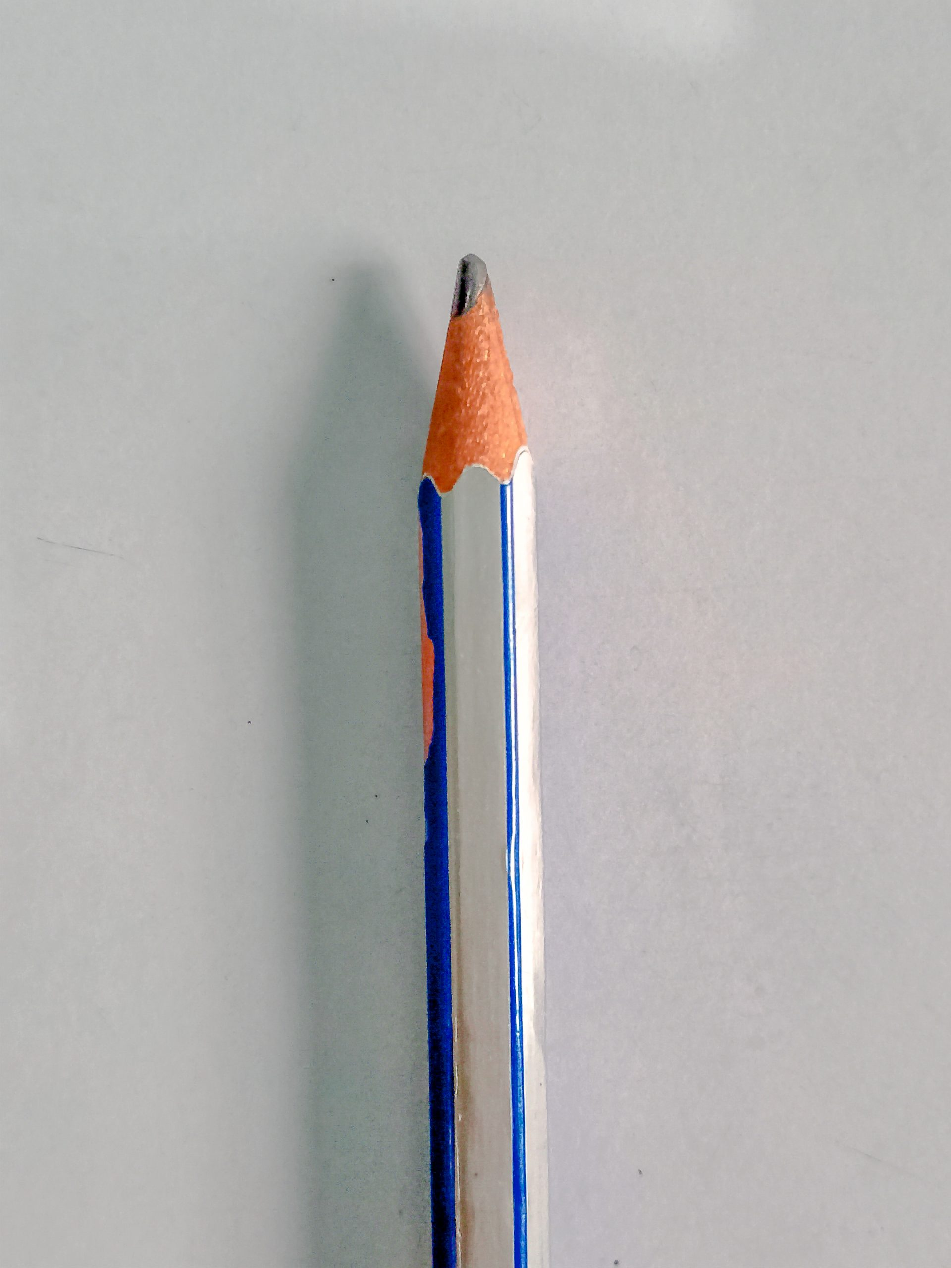 Lead pencil with silver and blue coating
