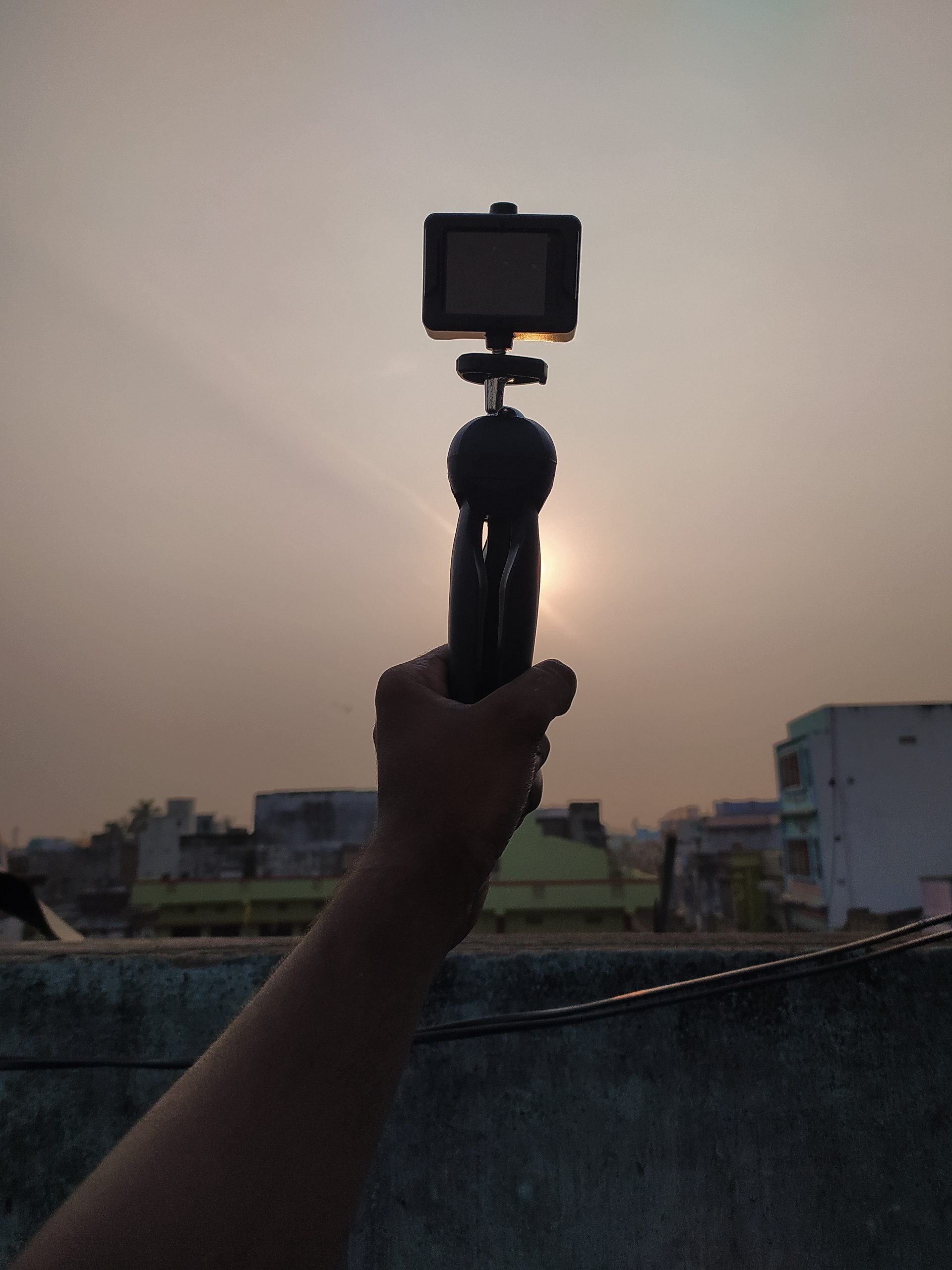 Go pro camera in hand