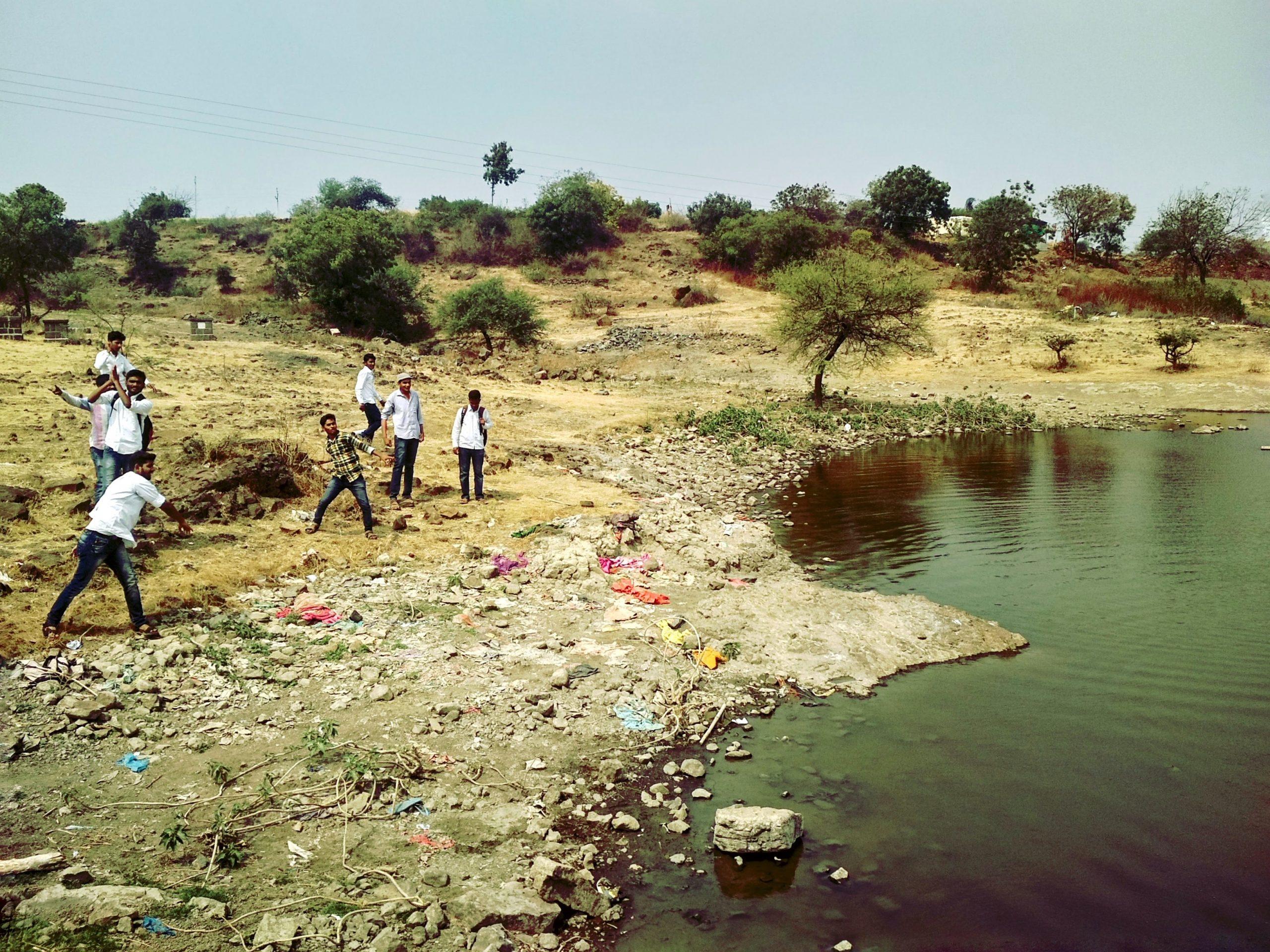 People near a lake