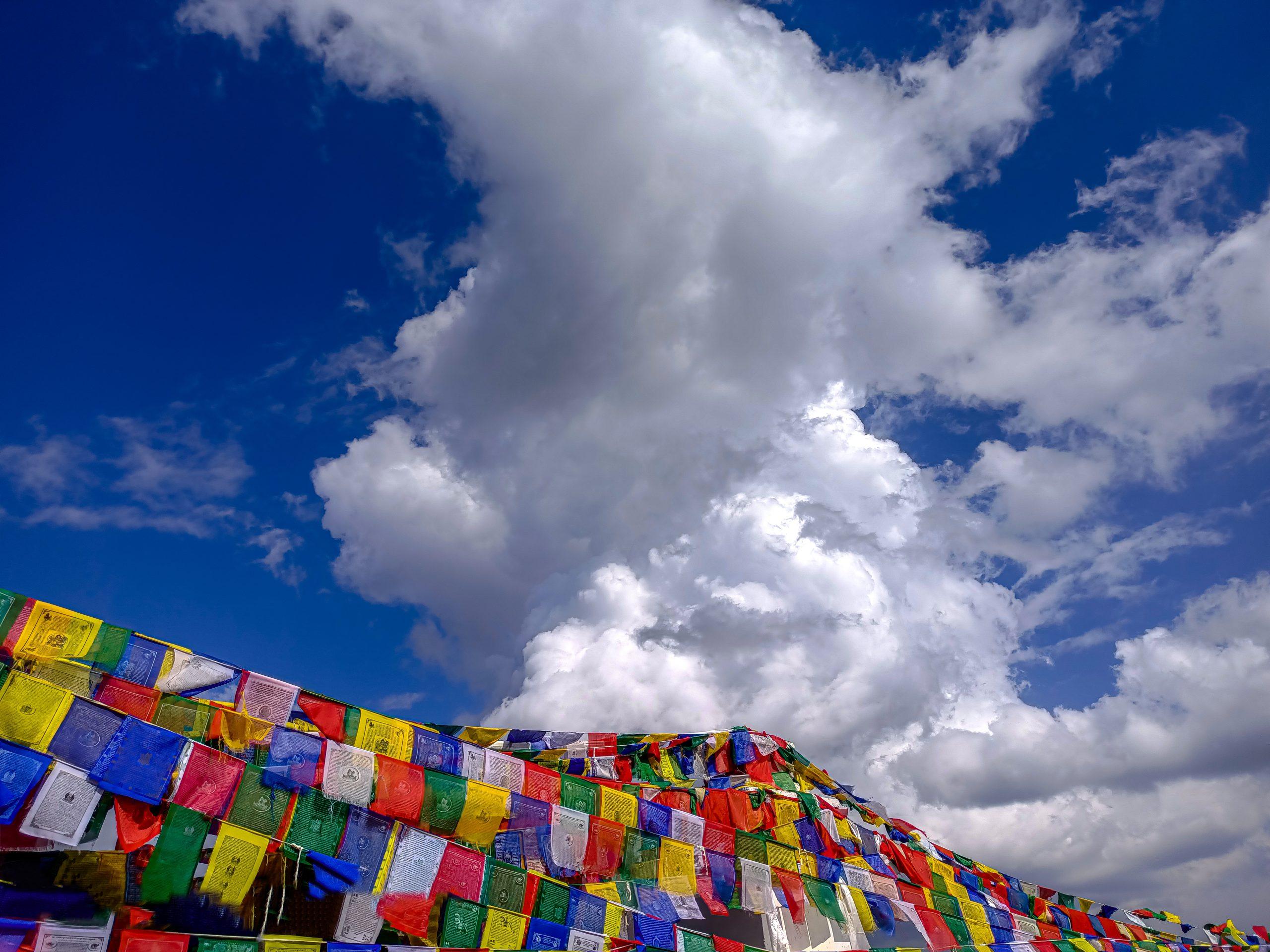 Prayer flags under cloudy sky
