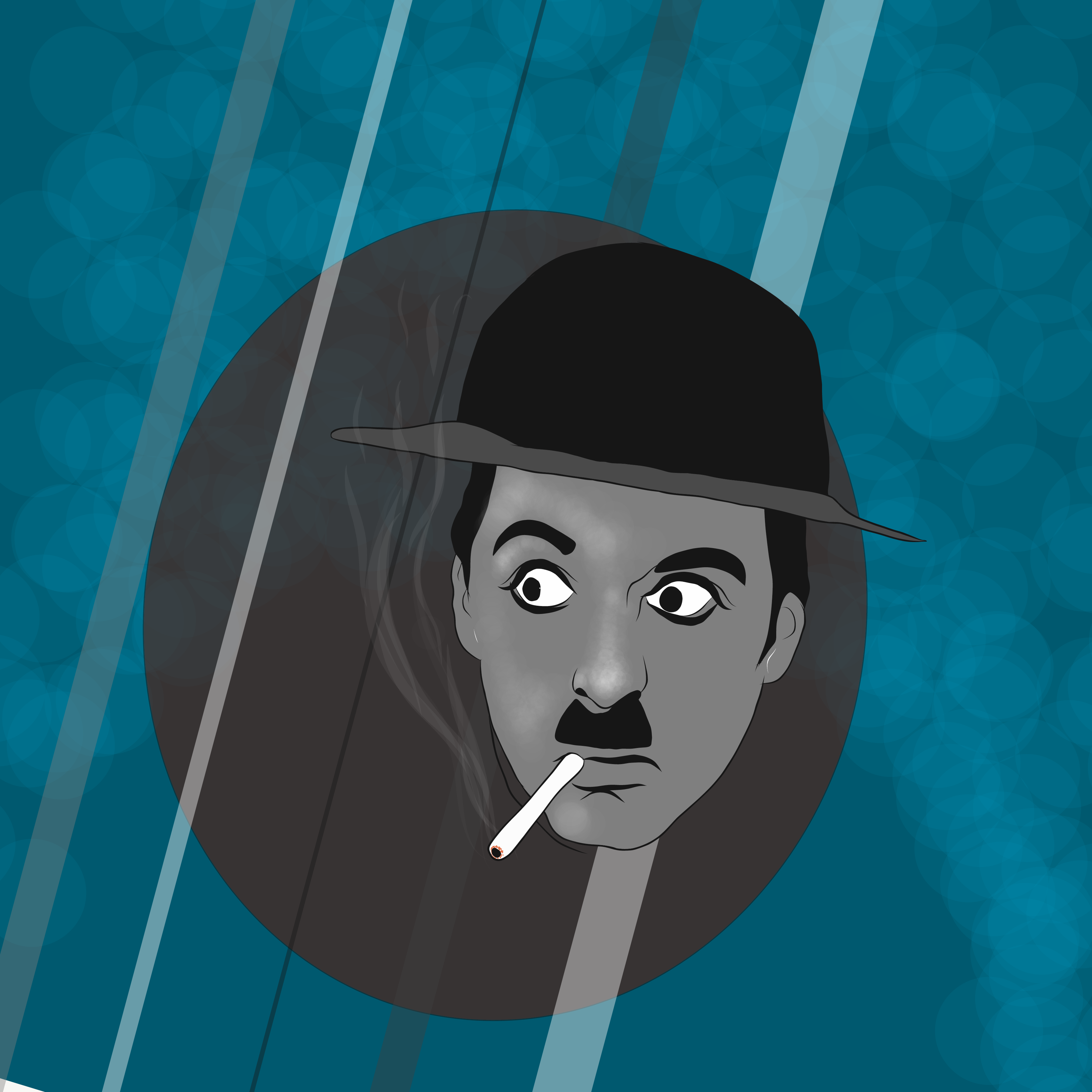 Charlie Chaplin smoking illustration
