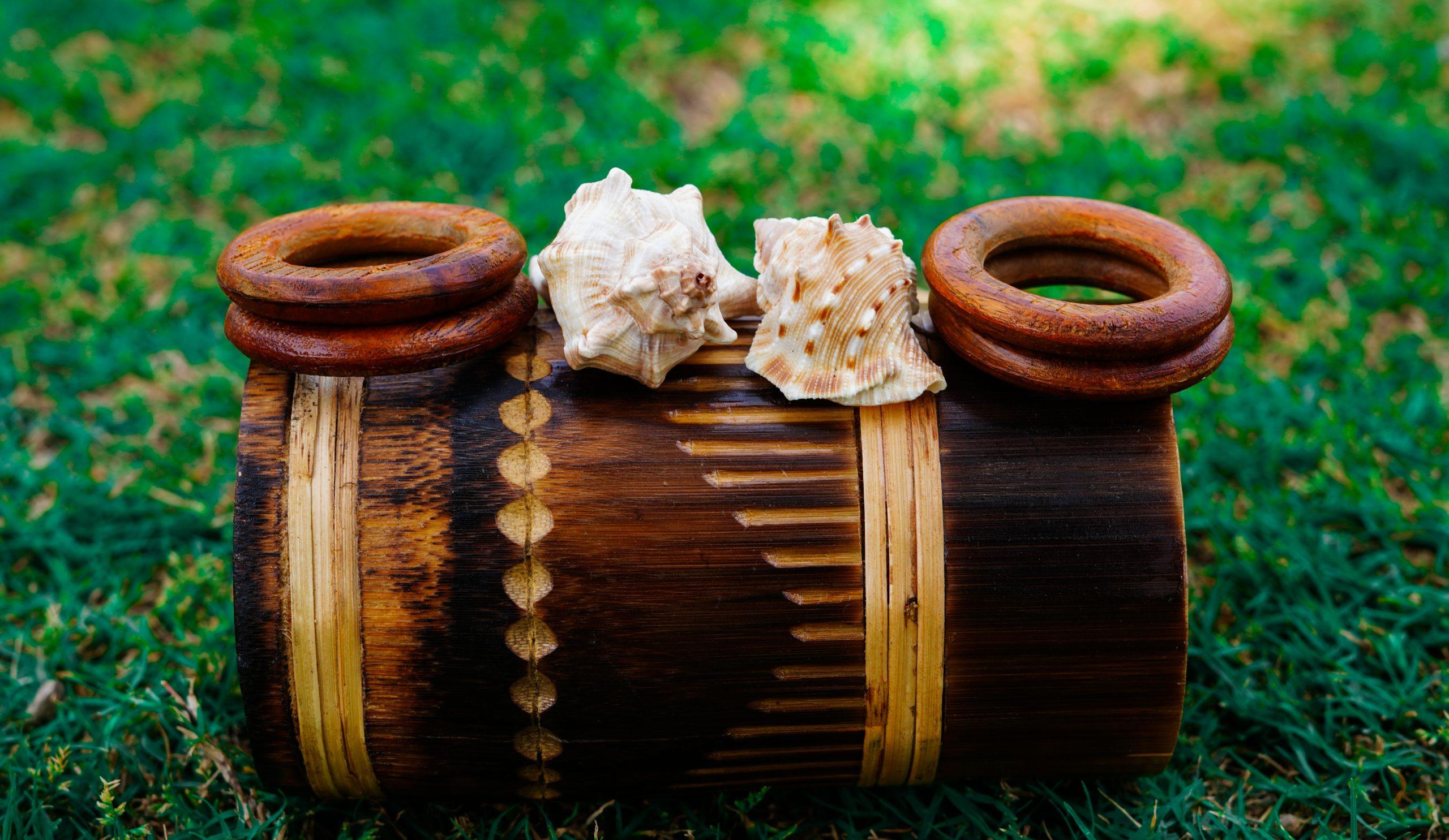 Sea Shells on wooden mug
