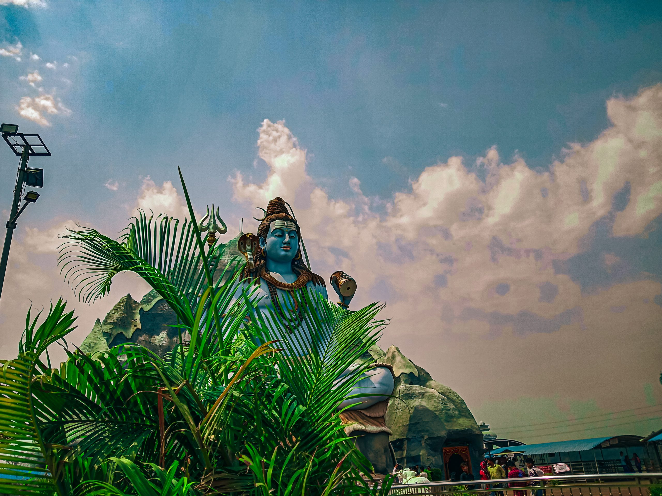 Beautiful Lord Shiva statue under blue sky