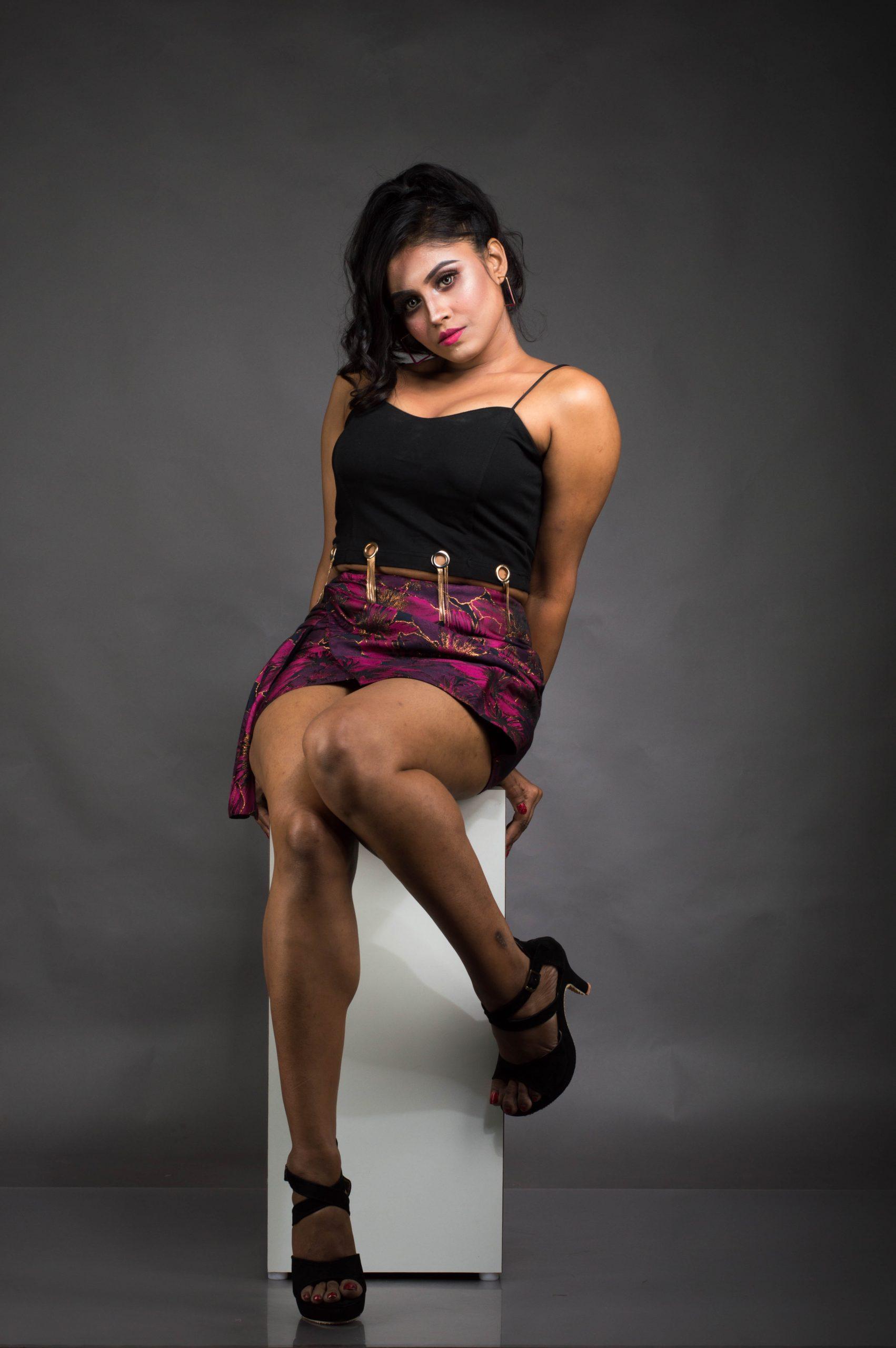Stylish female model posing