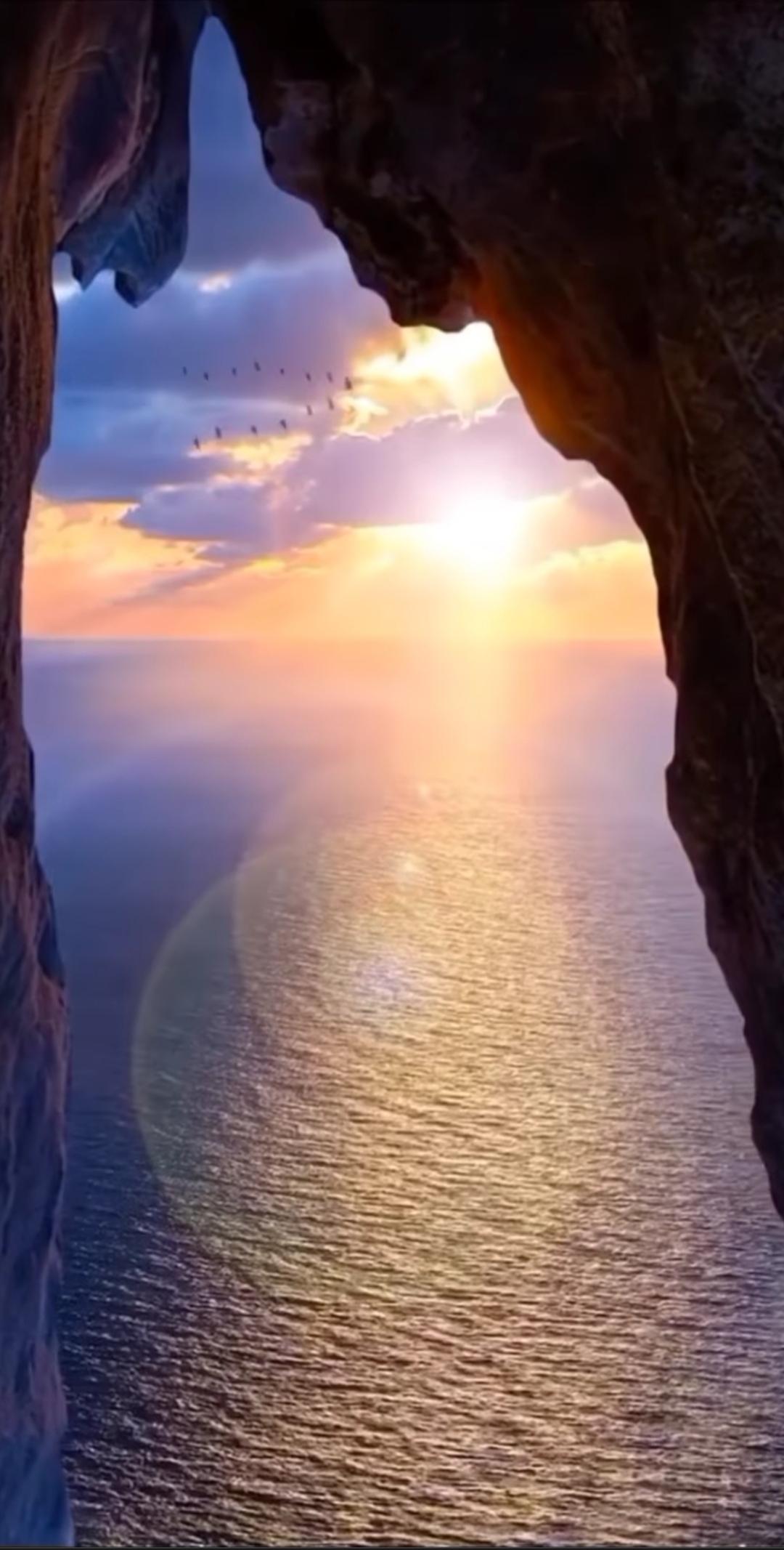 Sun rays falling on water
