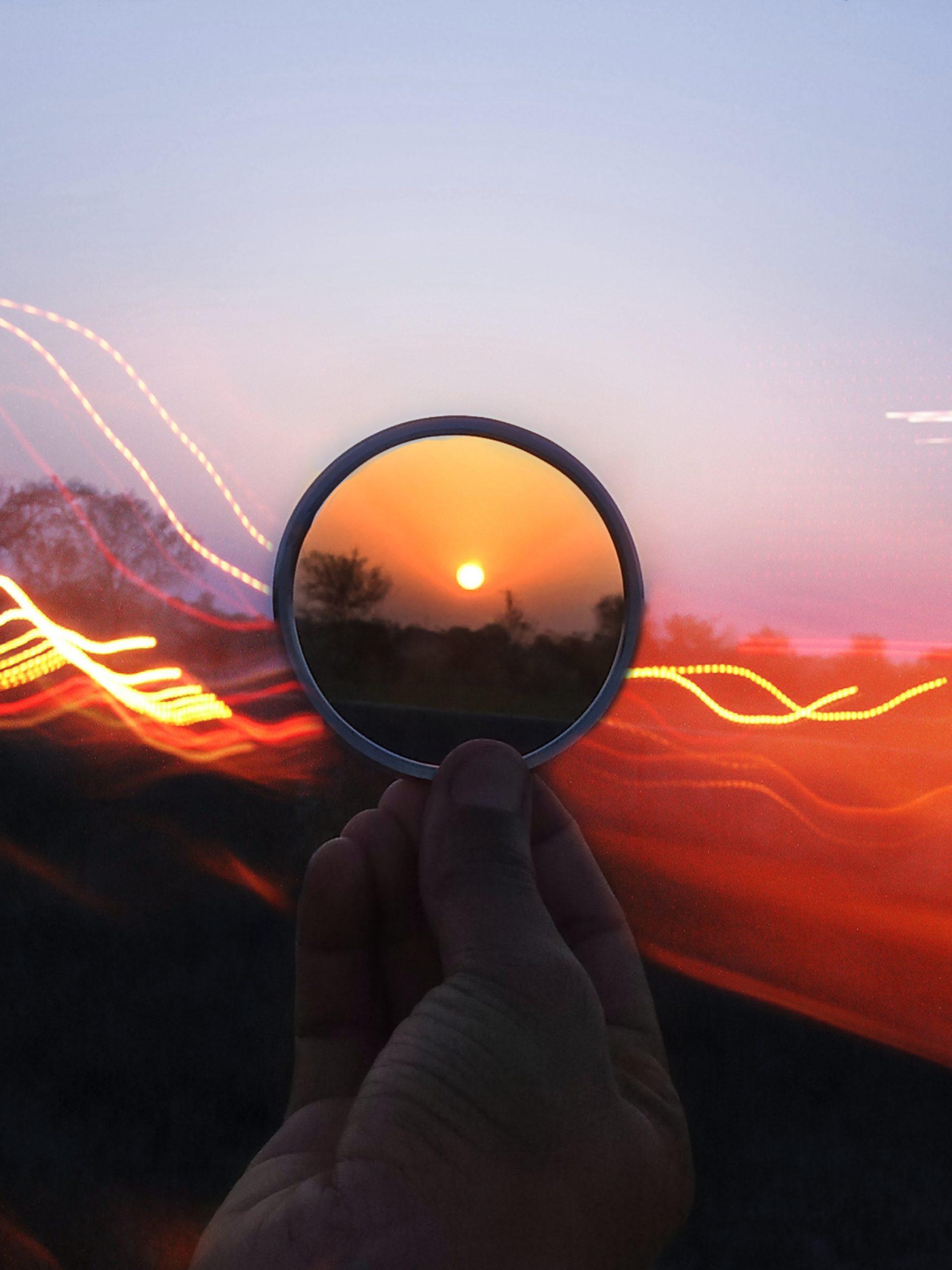 Sunset through ring