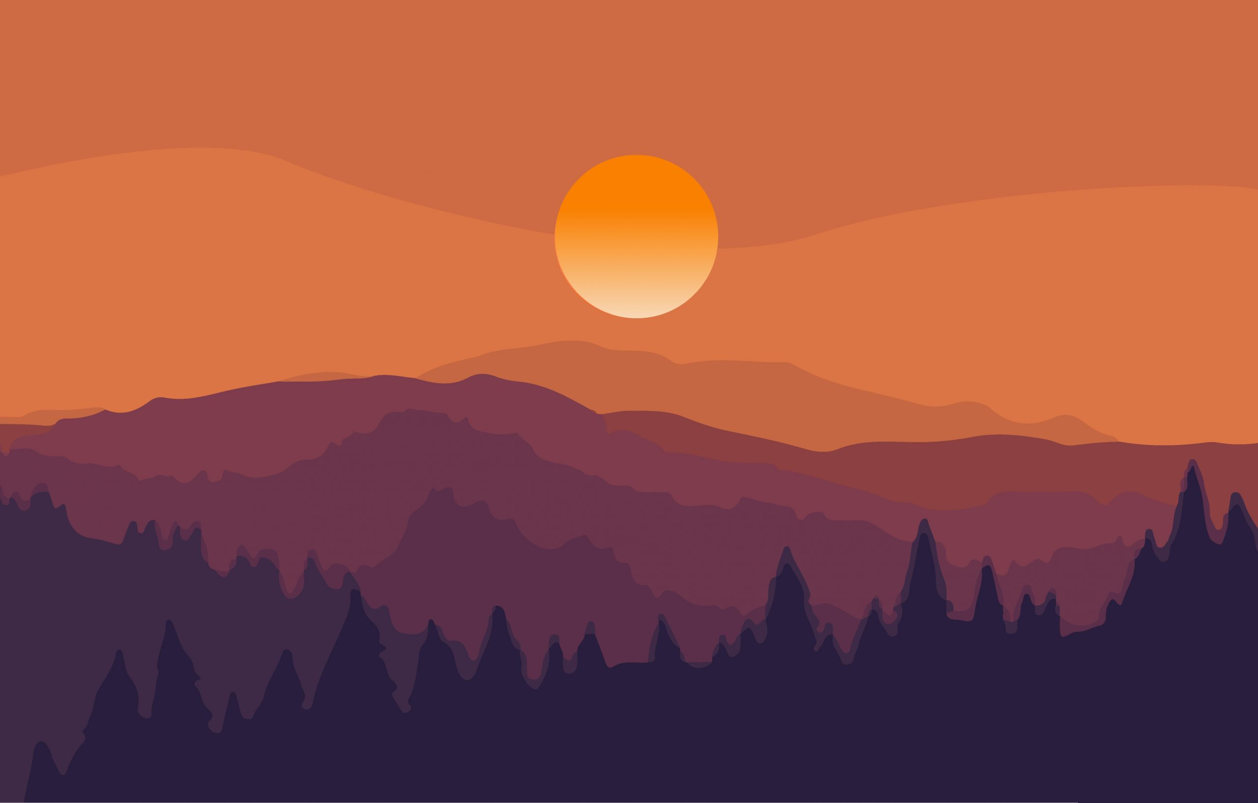 Sunset through mountains
