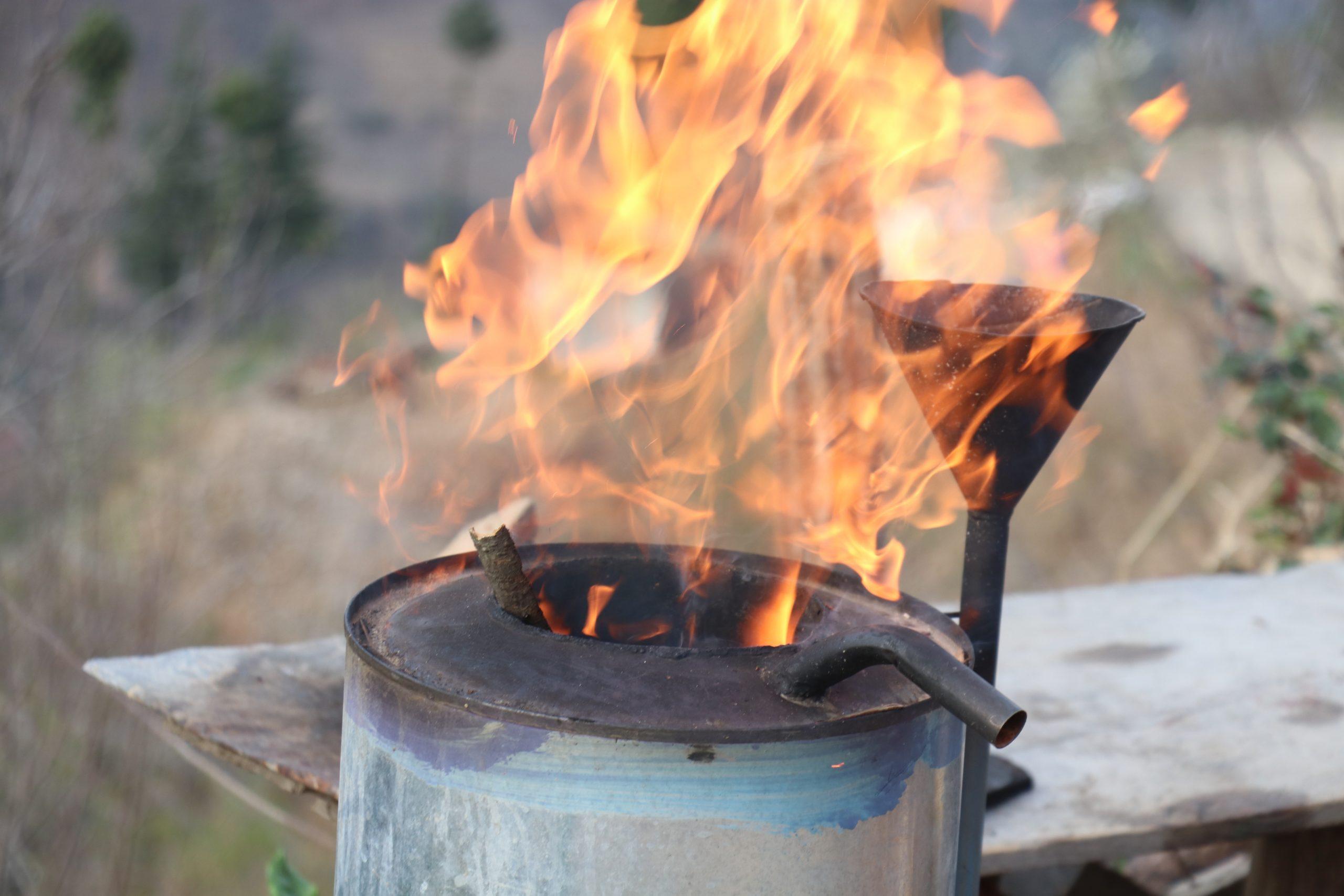 Outdoor coal stove