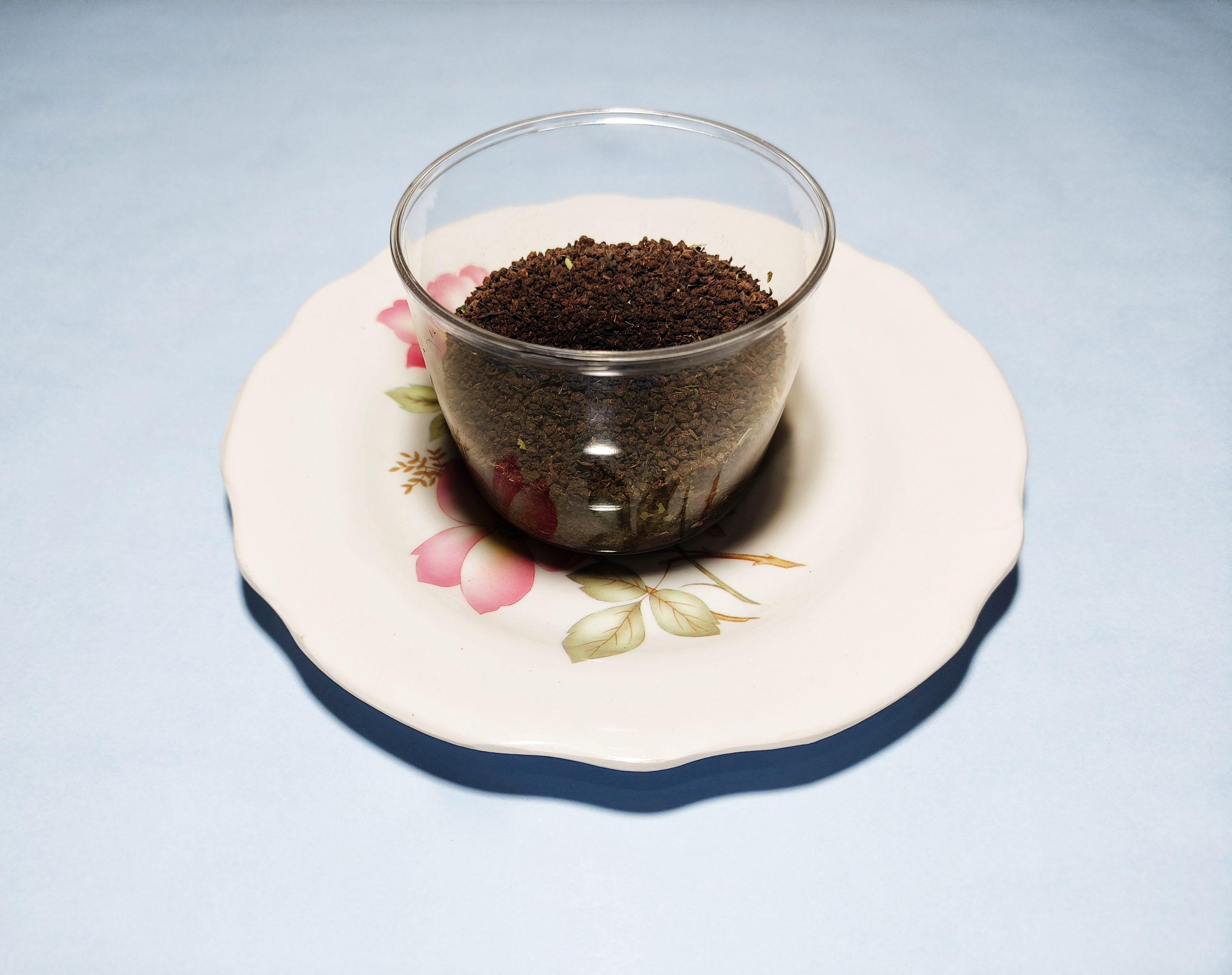 Tea leaves in a glass