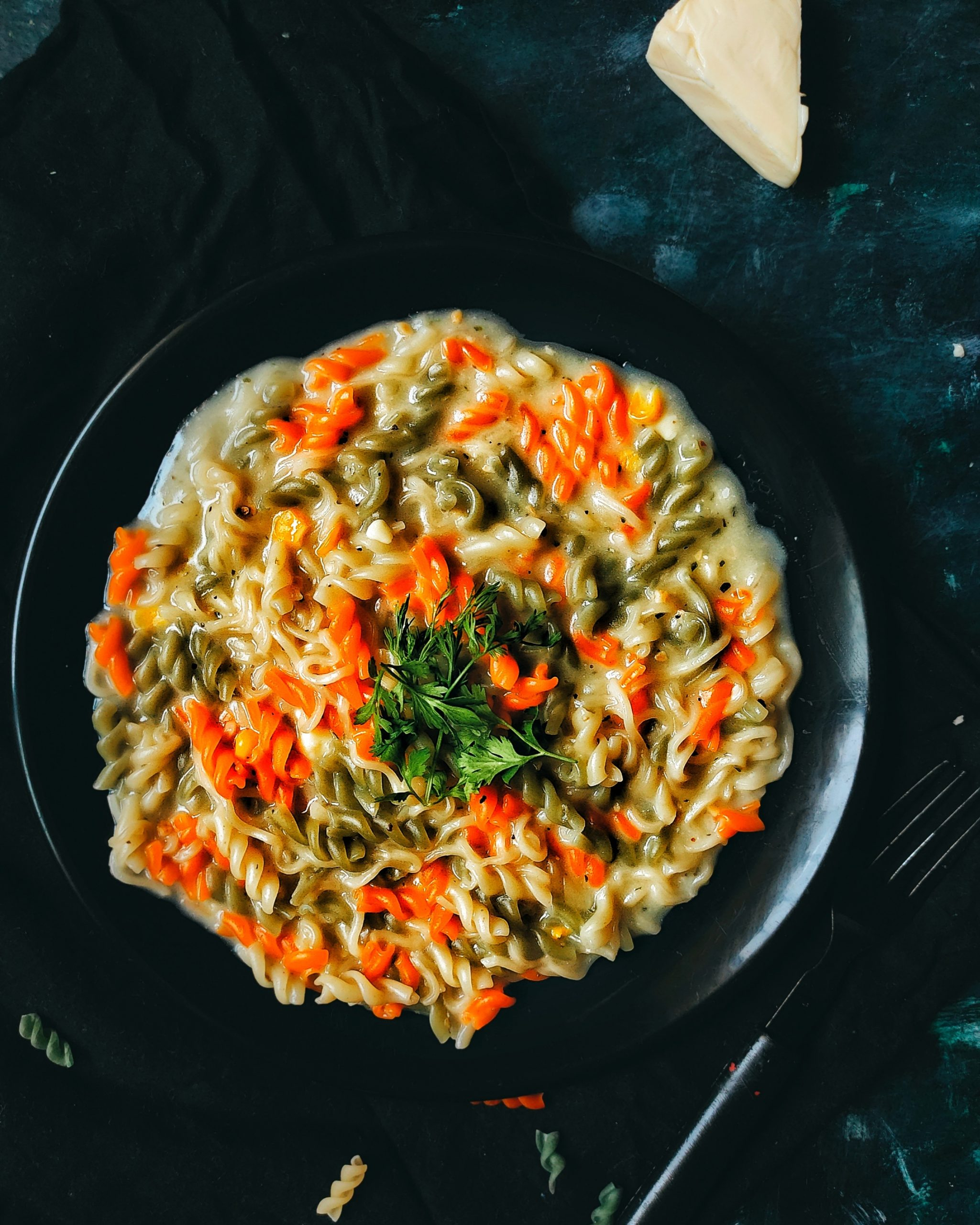 Tricolor cheese Pasta in the pan