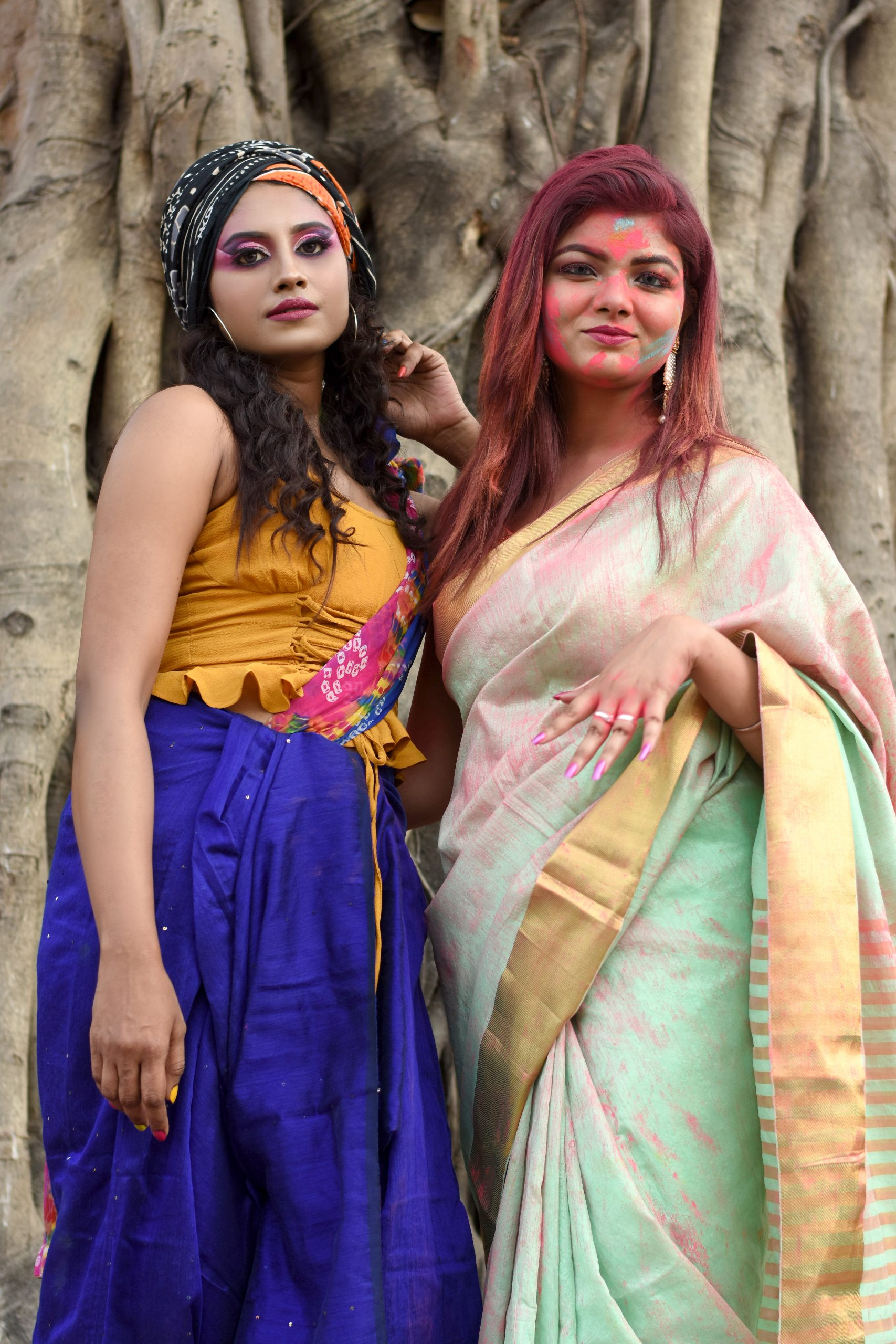 Two girls during Holi festival
