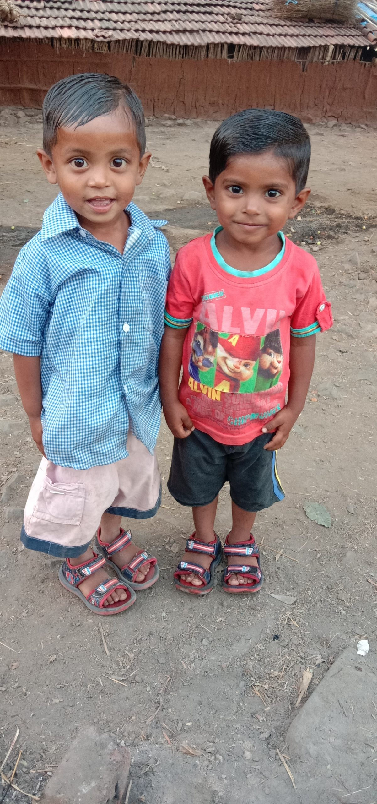 Two kids posing