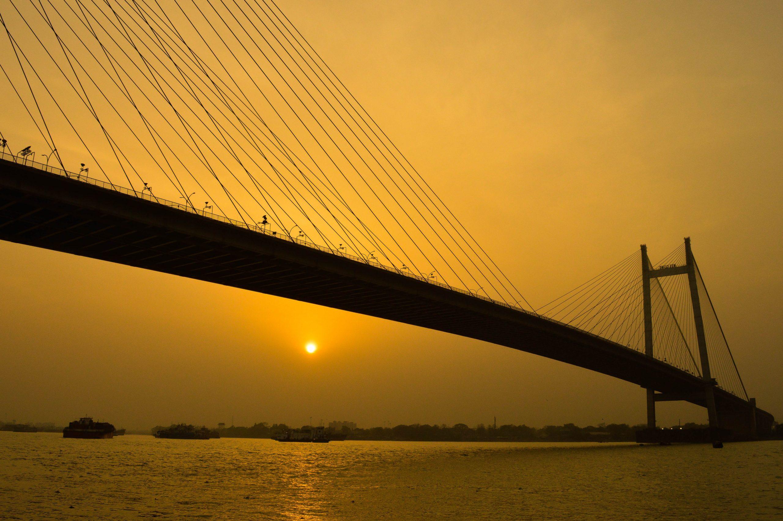 Vidhyasgar bridge and sunset in background
