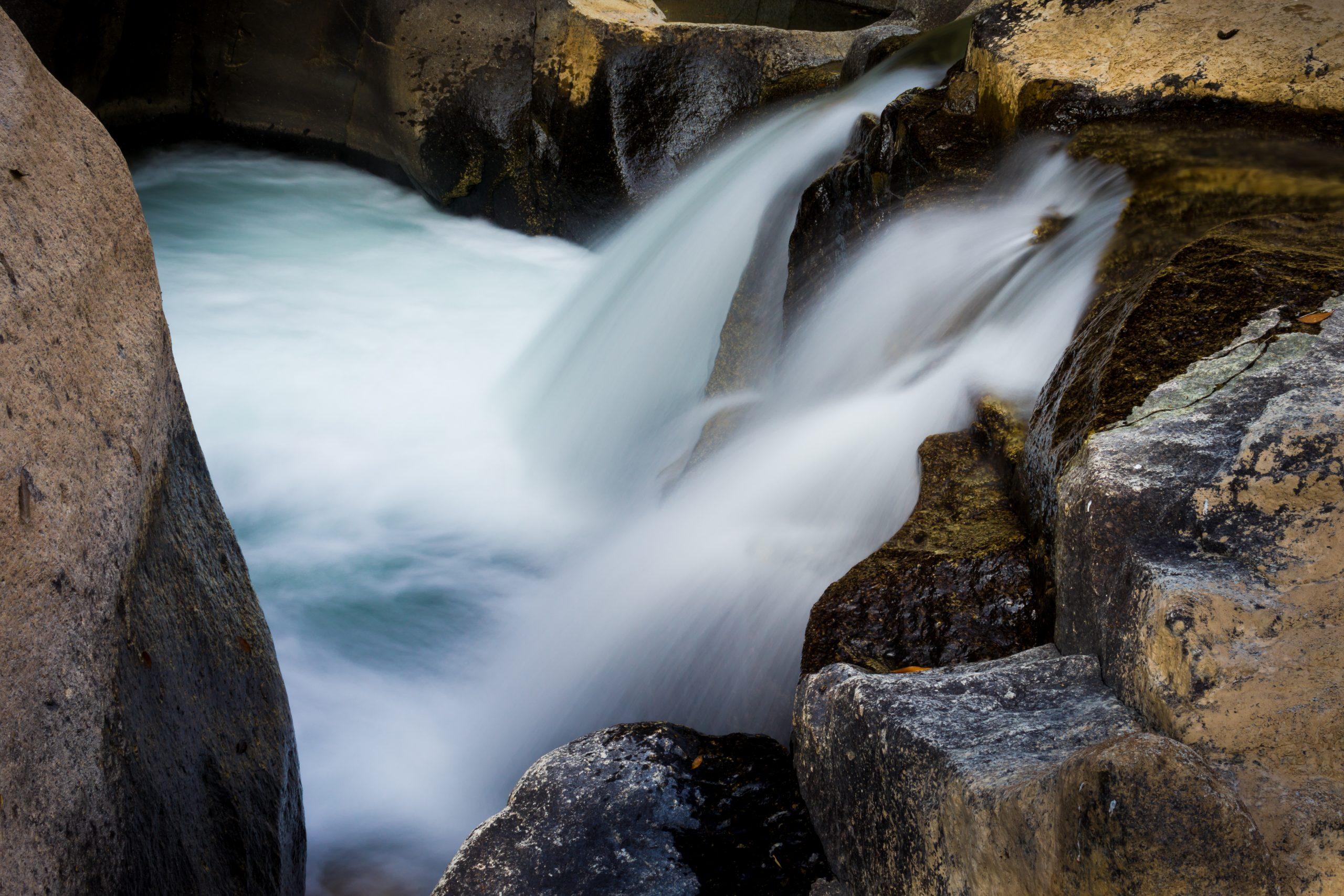 Beautiful waterfall and bedrock