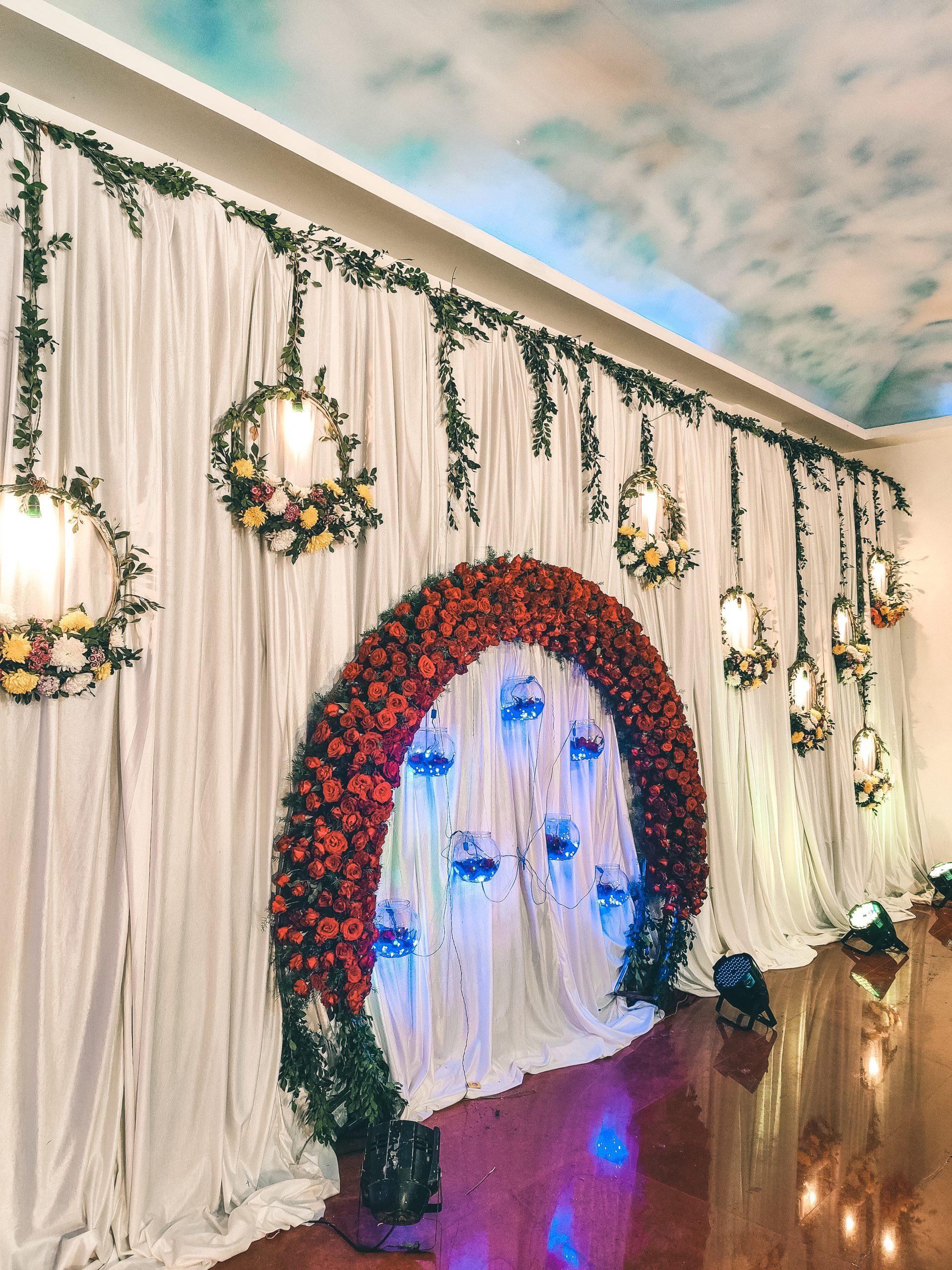 Decorated wedding stage