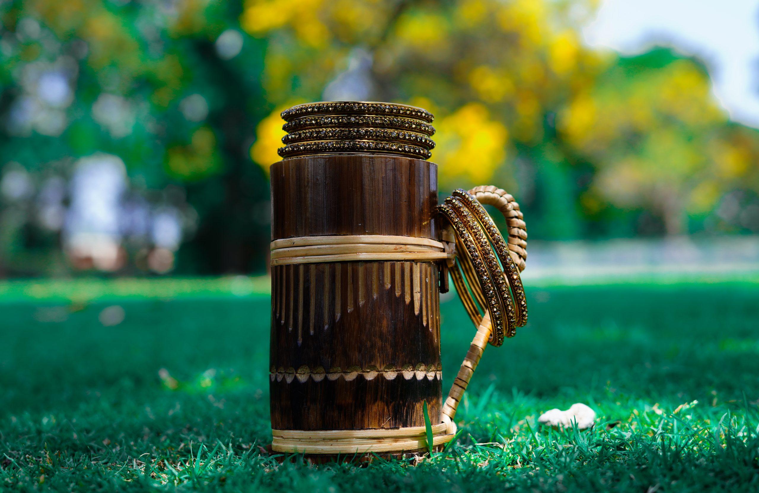 Wooden mug and bangles