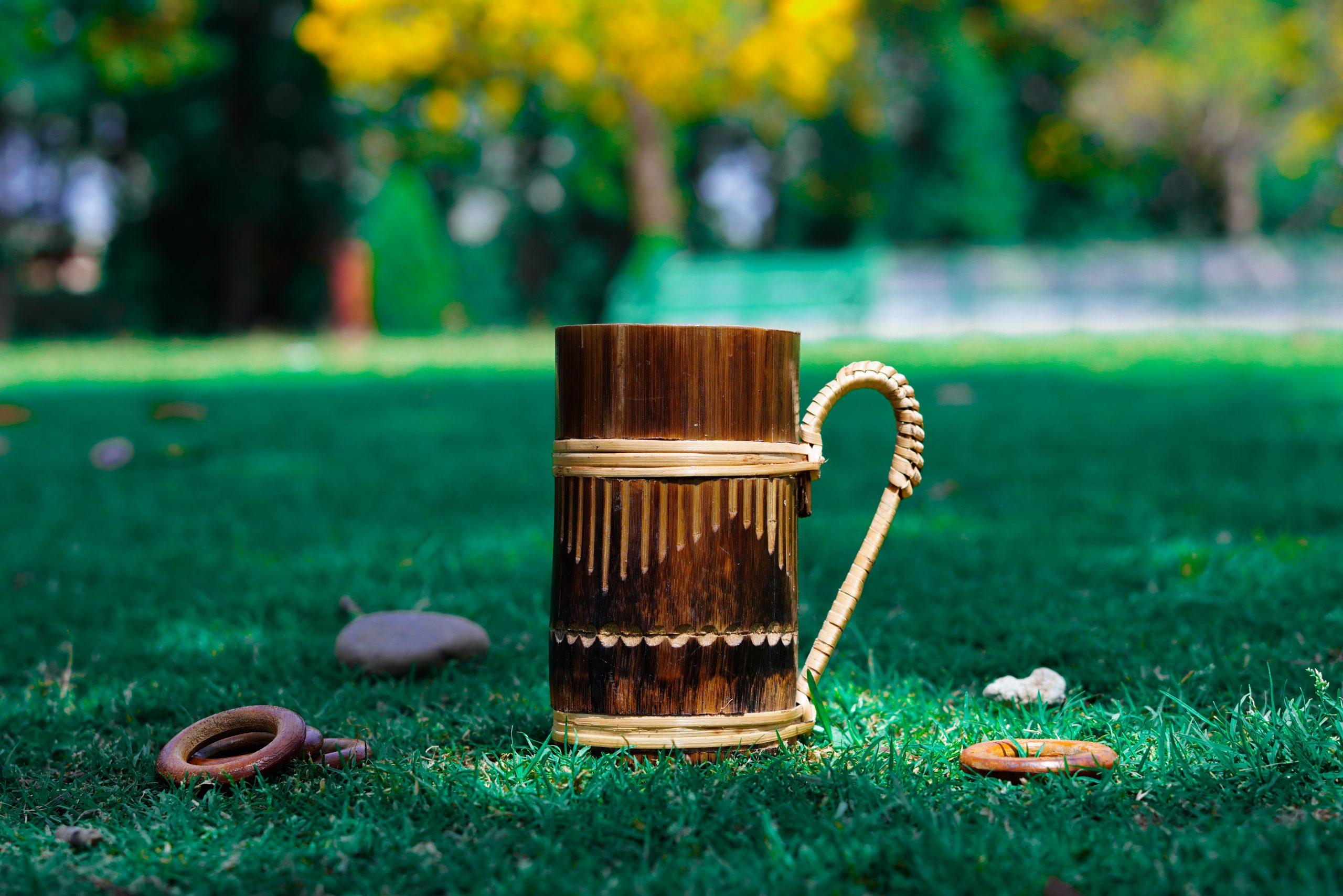 Wooden mug in the garden