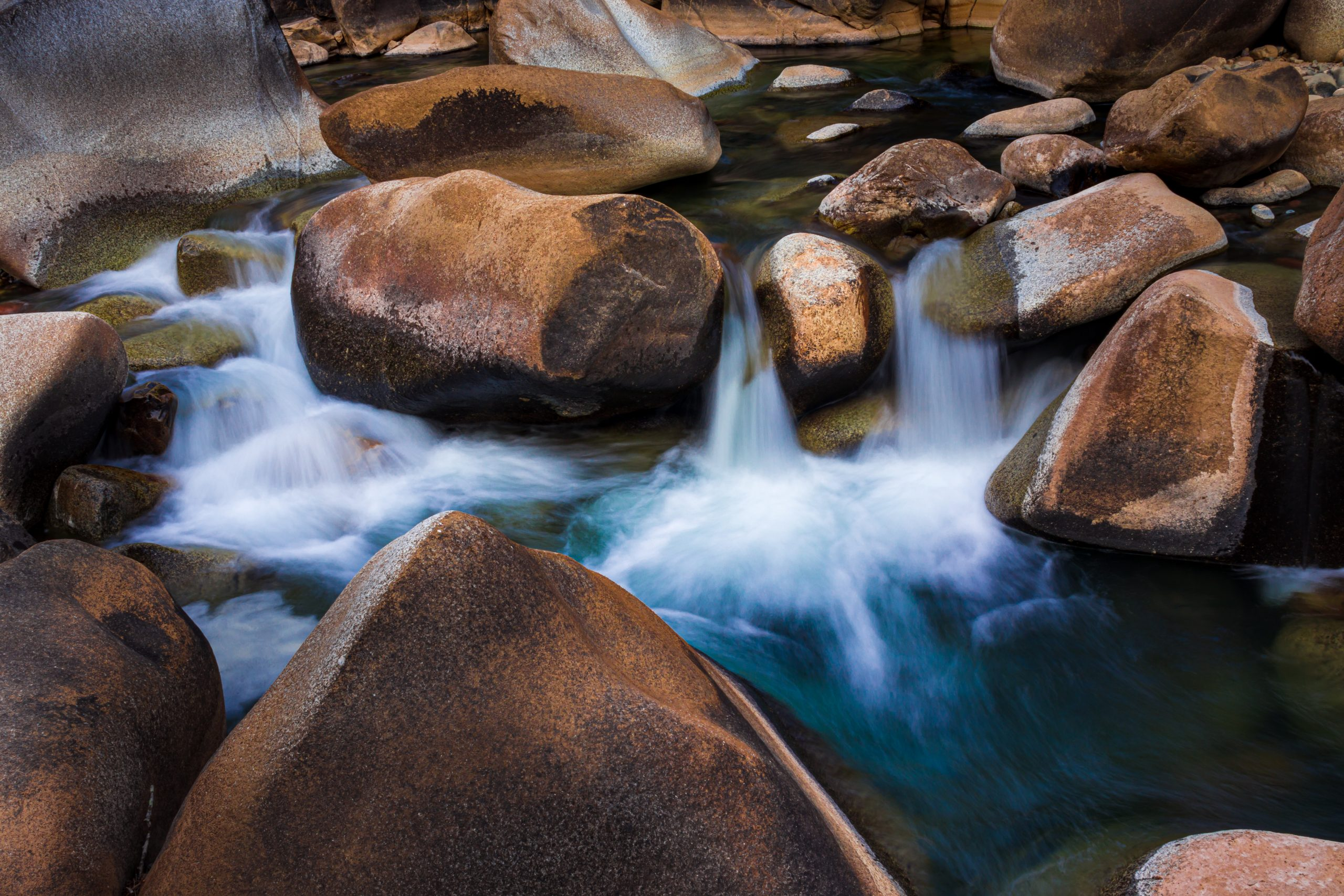 river flowing through the rocks