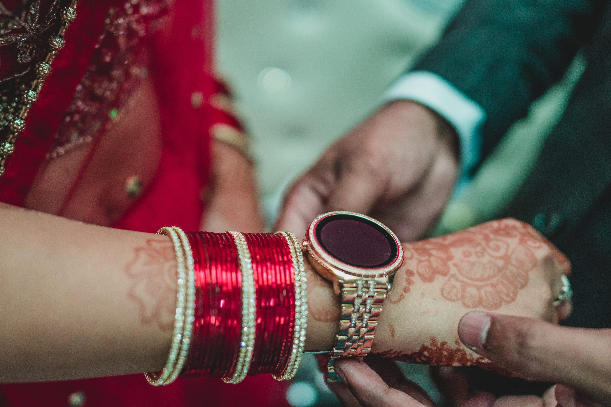watch in Bride's hand